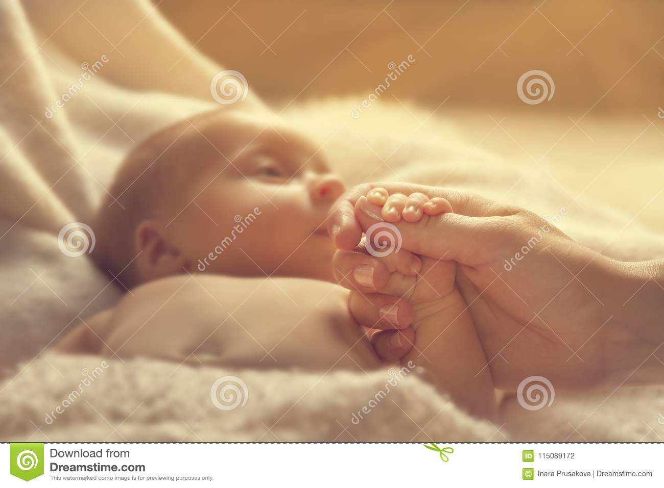 Newborn Baby Holding Mother Hand, New Born Child and Parent
