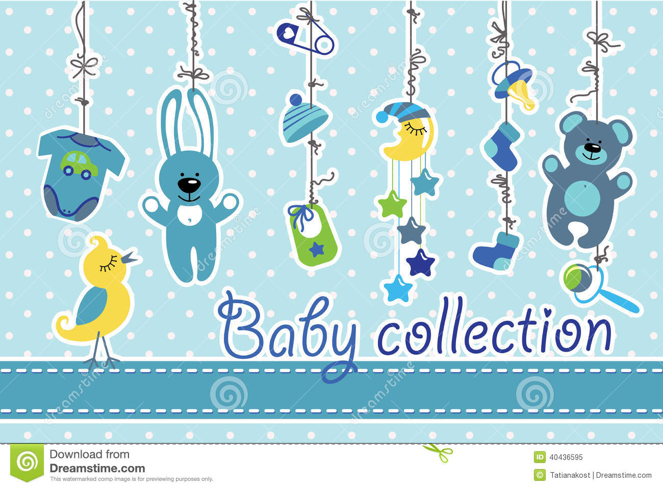 Newborn Baby Items Hanging On Rope.Baby Boy Collection ...