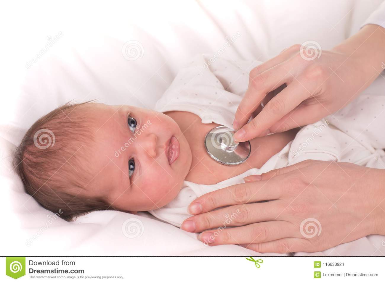 Newborn baby. Little child in medicine hospital. Medical health care. Doctor pediatrician.