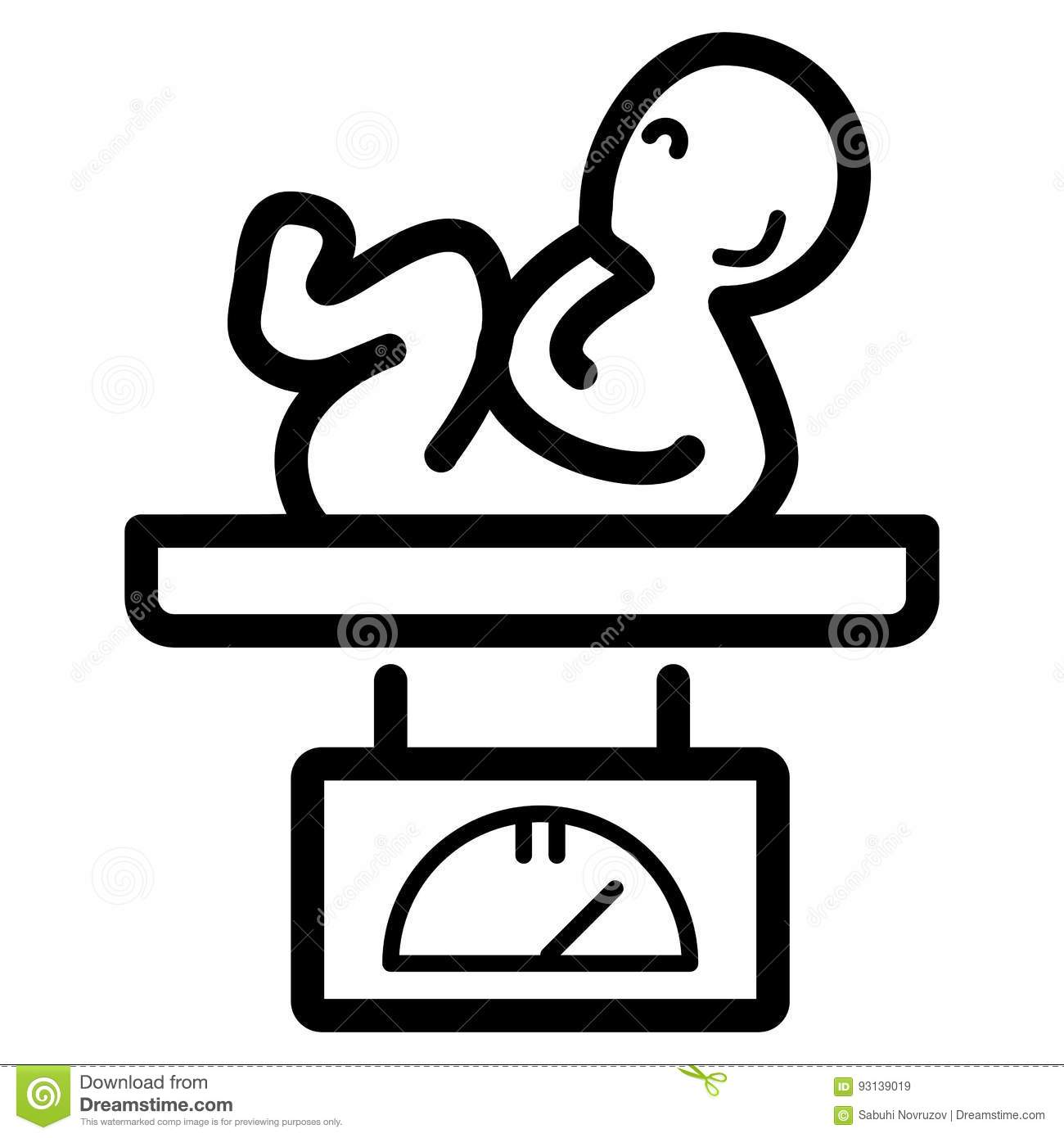 Newborn Baby On Scales Vector Icon Black And White Babys Weight