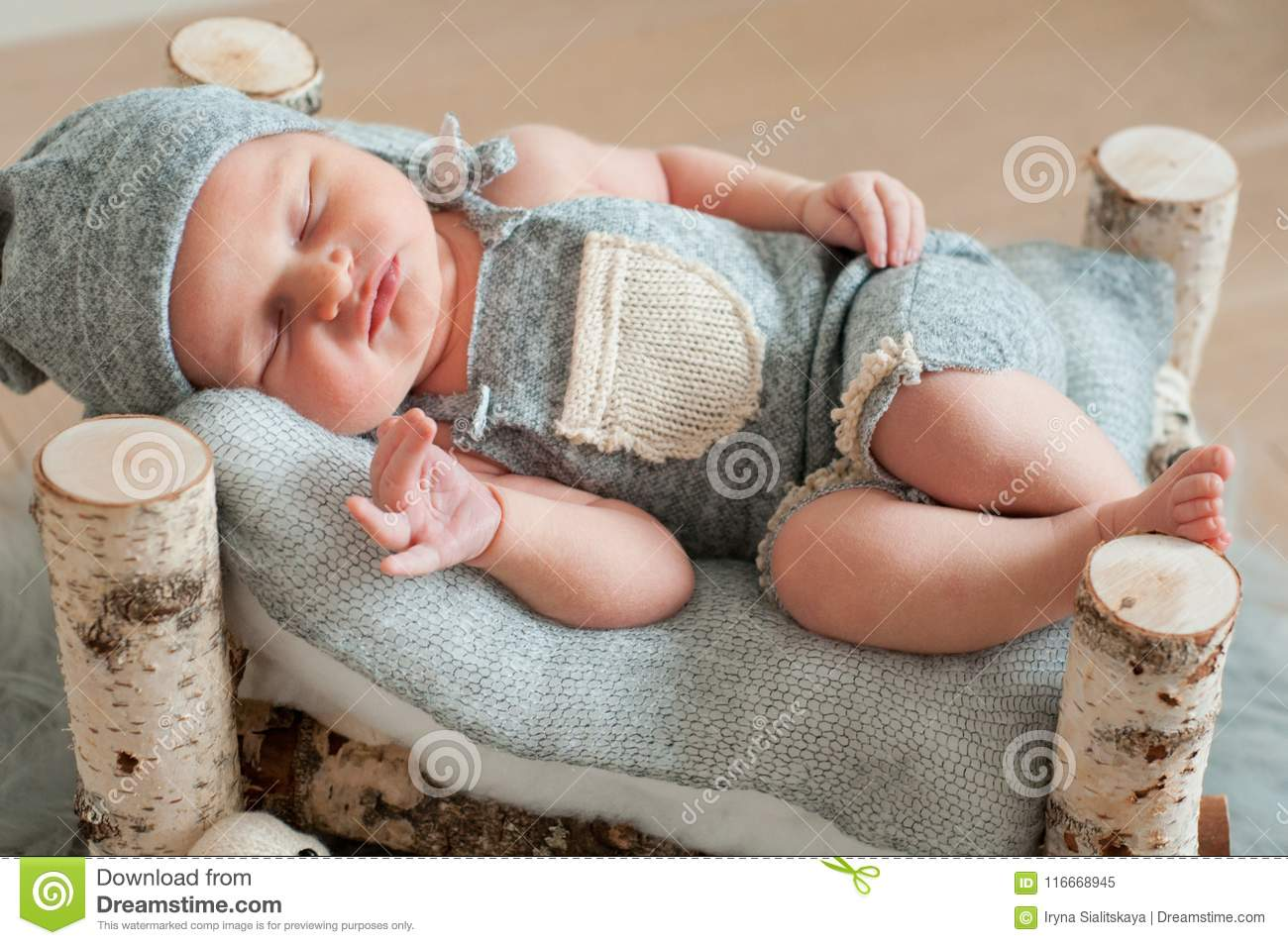 Newborn Baby Sleeping Asleep On Bed Stock Image Image Of Mattress