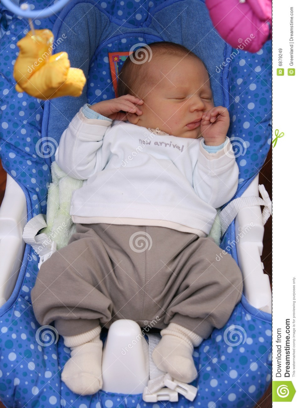 Newborn Baby Sleeping In Baby Swing Stock Image - Image ...