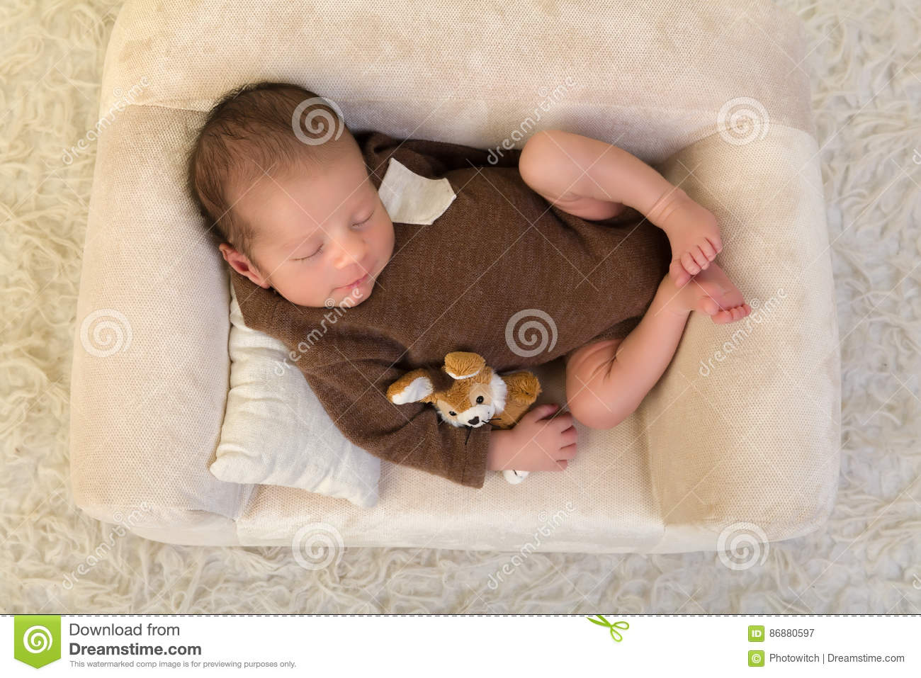 Newborn Baby Sleeping On Soft Couch Stock Photo Image