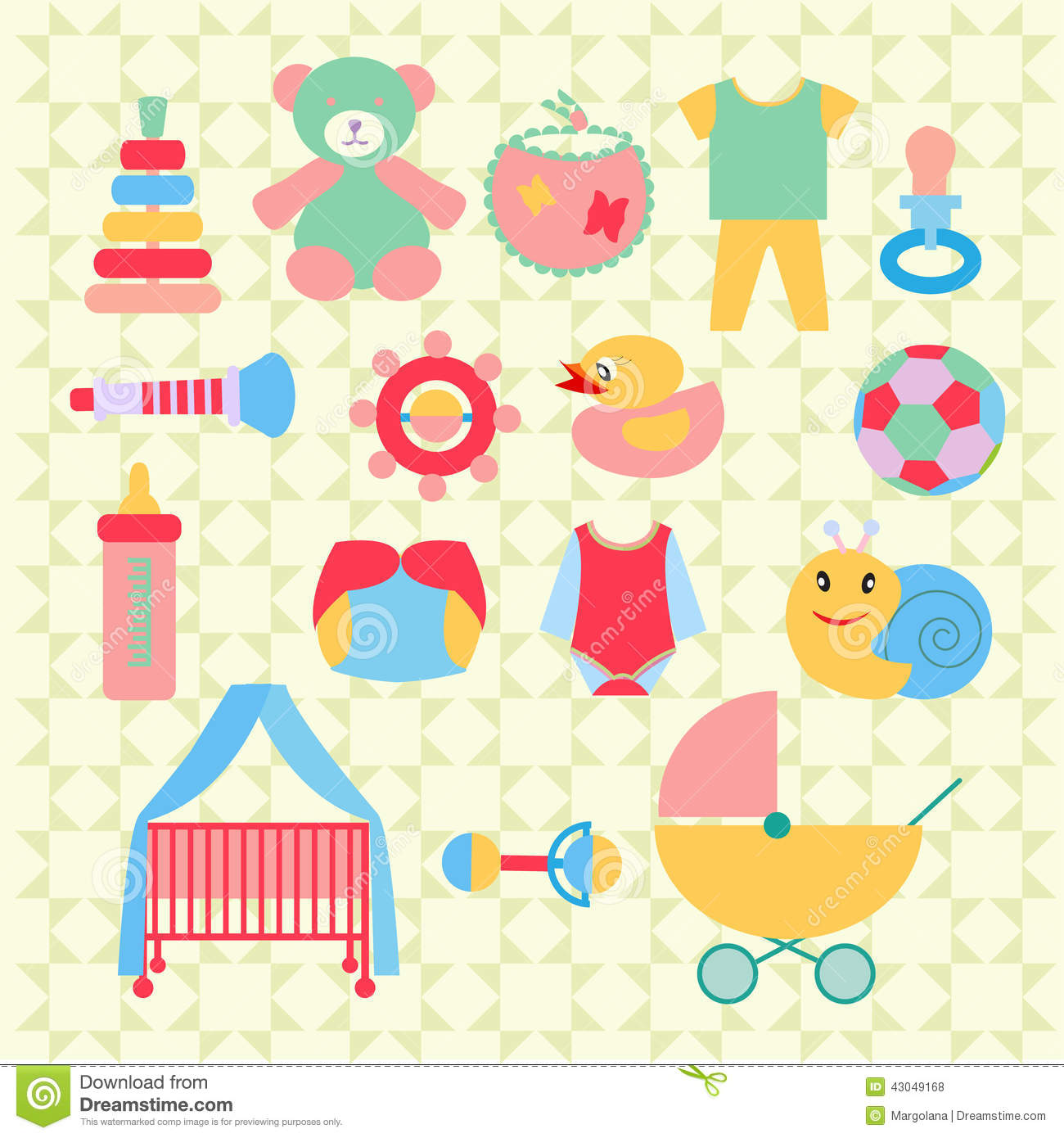 Newborn Baby Stuff Icons Set Illustration Stock