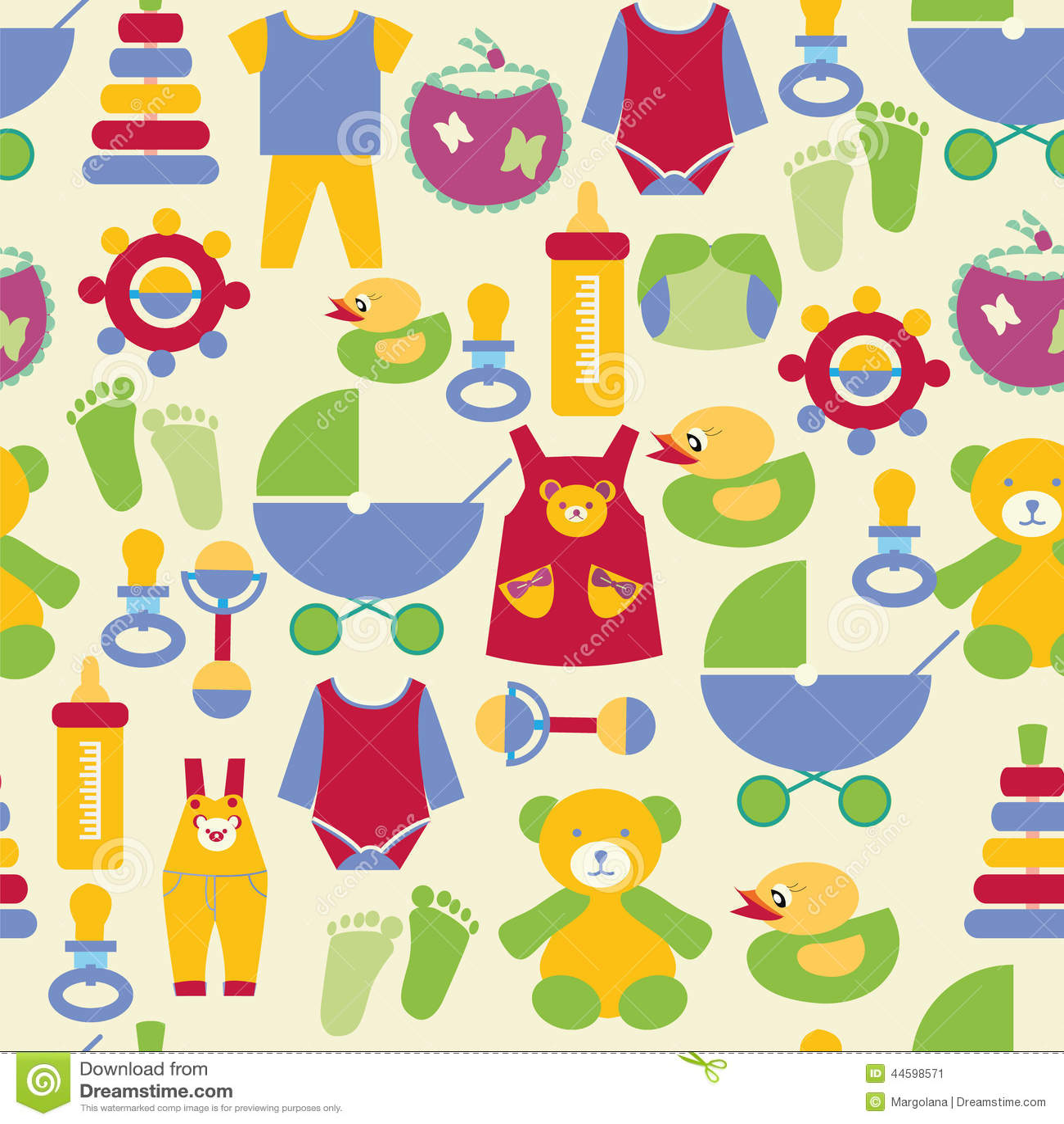 Newborn Baby Stuff Pattern - Illustration Stock Vector ...