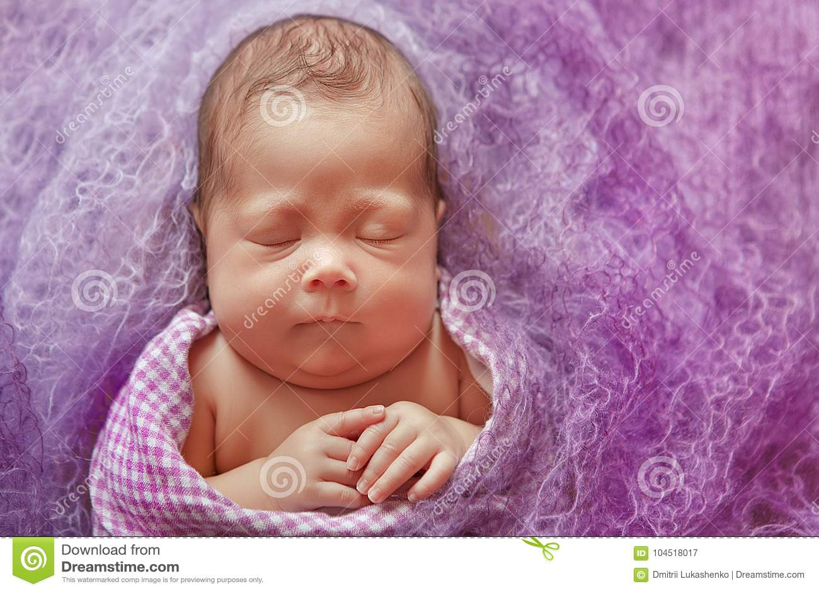 bf08db95b Newborn Baby Tender Sleeping On Wool Couturier Blanket. Pure Human ...