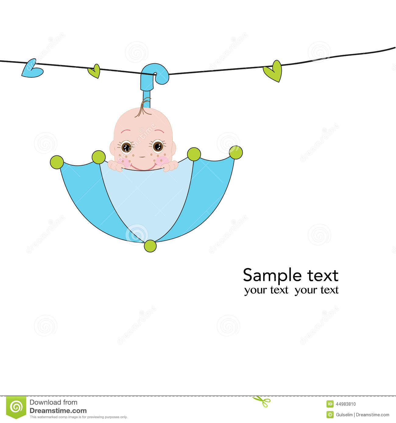 Coloring pages baby boy baby shower coloring pages boy baby shower - Newborn Baby With Umbrella Greeting Card Stock Vector