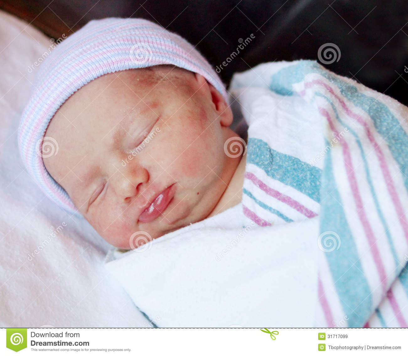 Newborn Baby Wrapped Up In A Blanket Stock Image Image Of Sleep