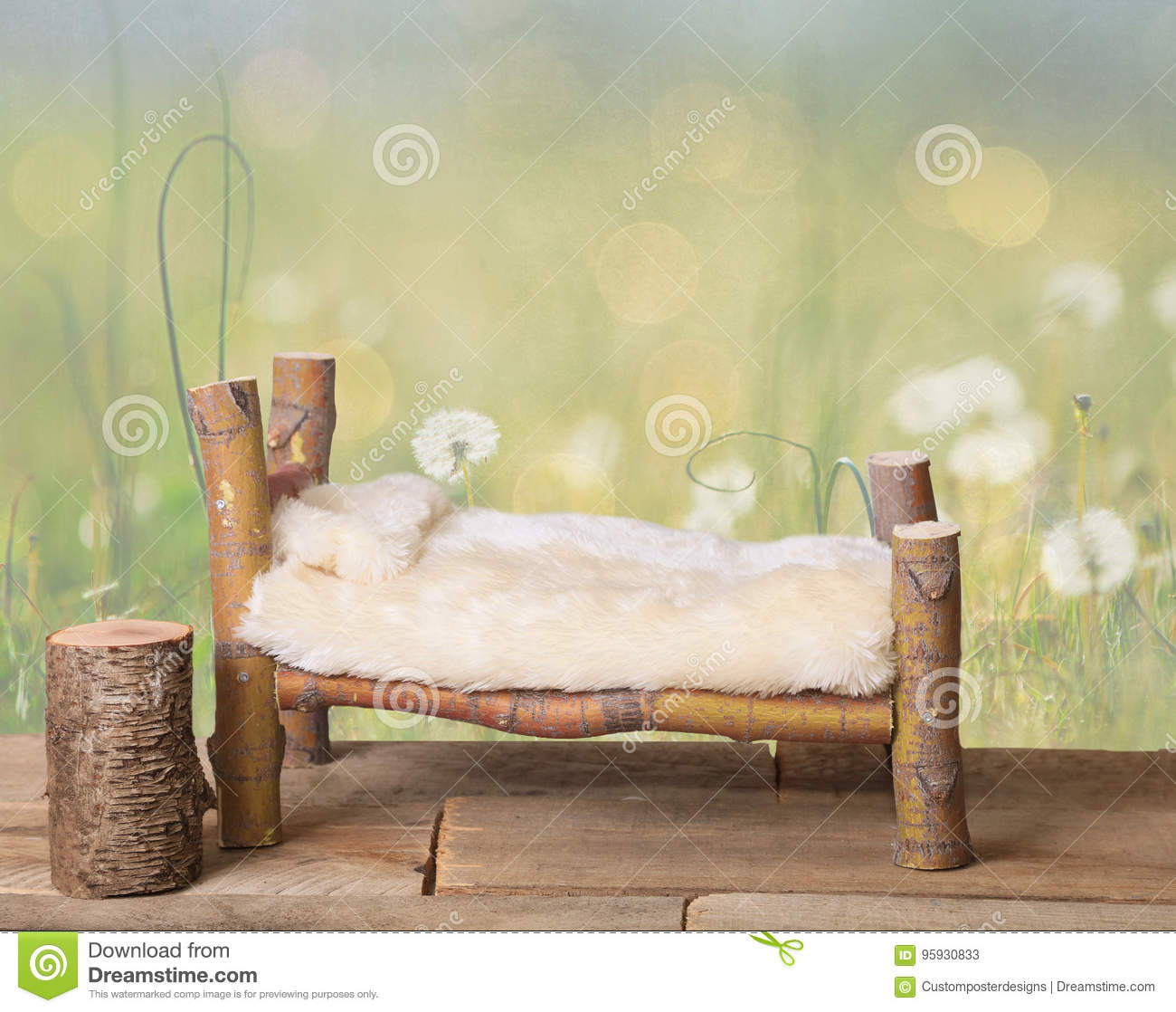 Download A Newborn Bed Studio Digital Prop Made From Japanese Maple Tree Branches With A Dandelion Green Meadow Nature Background. Stock Image - Image of designed, baby: 95930833