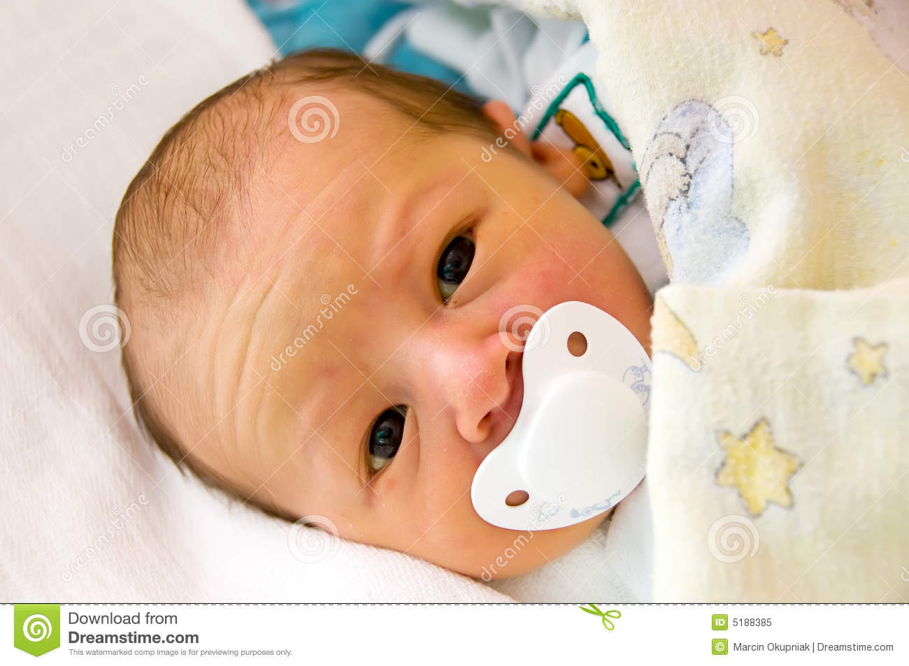 Newborn With Dummy Pacifier Stock Image Image Of