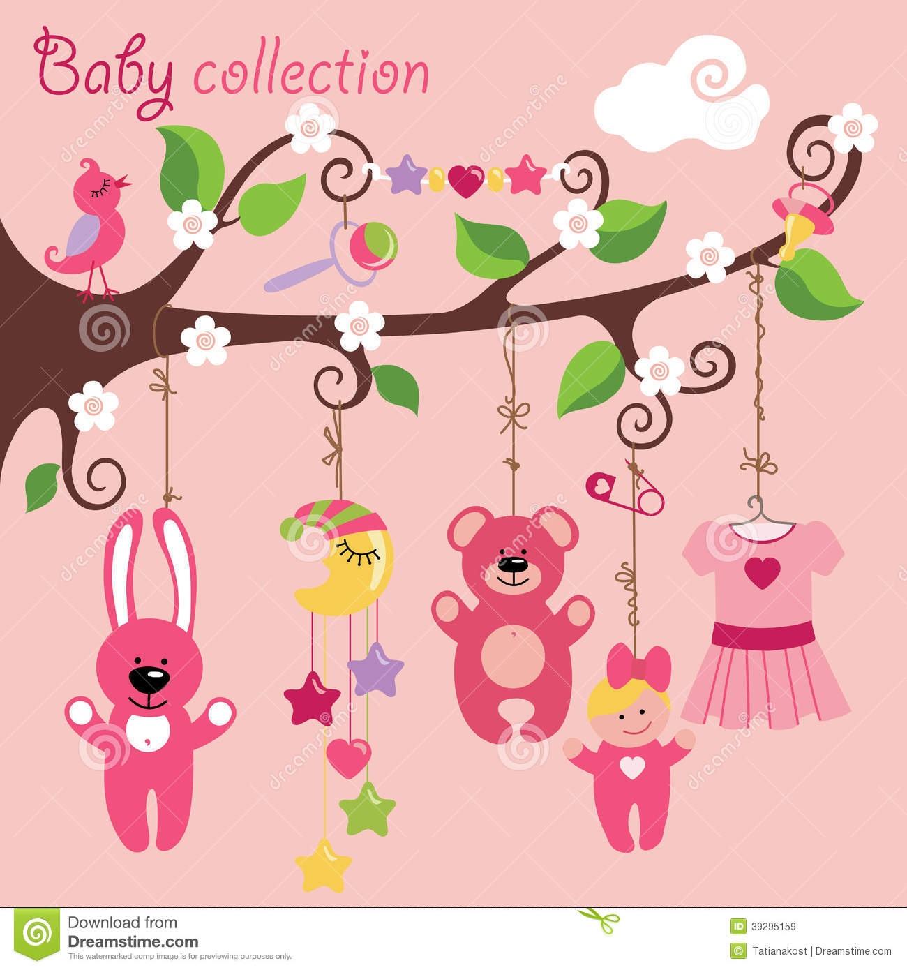 in the tree branches.Cartoon Baby collection. A bib, dress,Teddy-bear ...