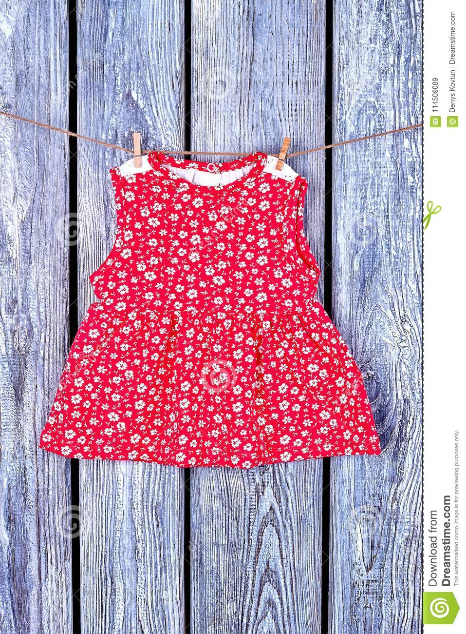 4bd1a2eb5 Newborn Girl Cute Dress On Rope. Stock Image - Image of design ...