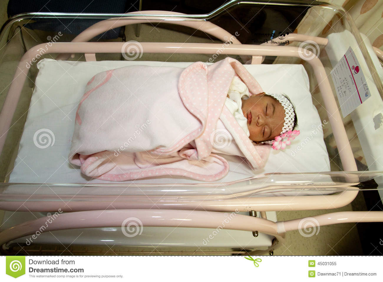 newborn girl in hospital bed stock image image of wrapped newborn 45031055. Black Bedroom Furniture Sets. Home Design Ideas