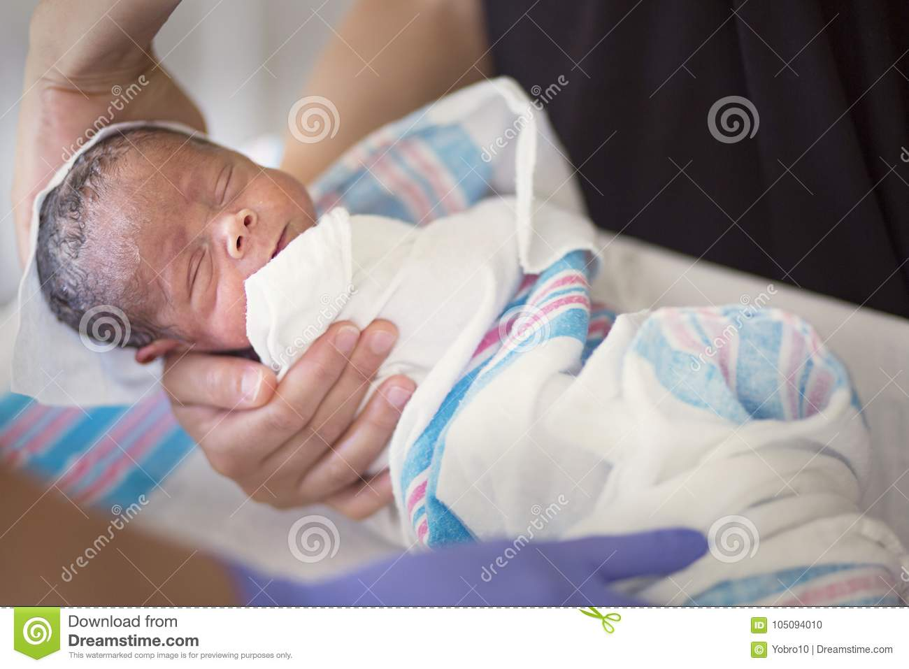 Newborn Infant Baby Getting His First Bath In The Hospital ...