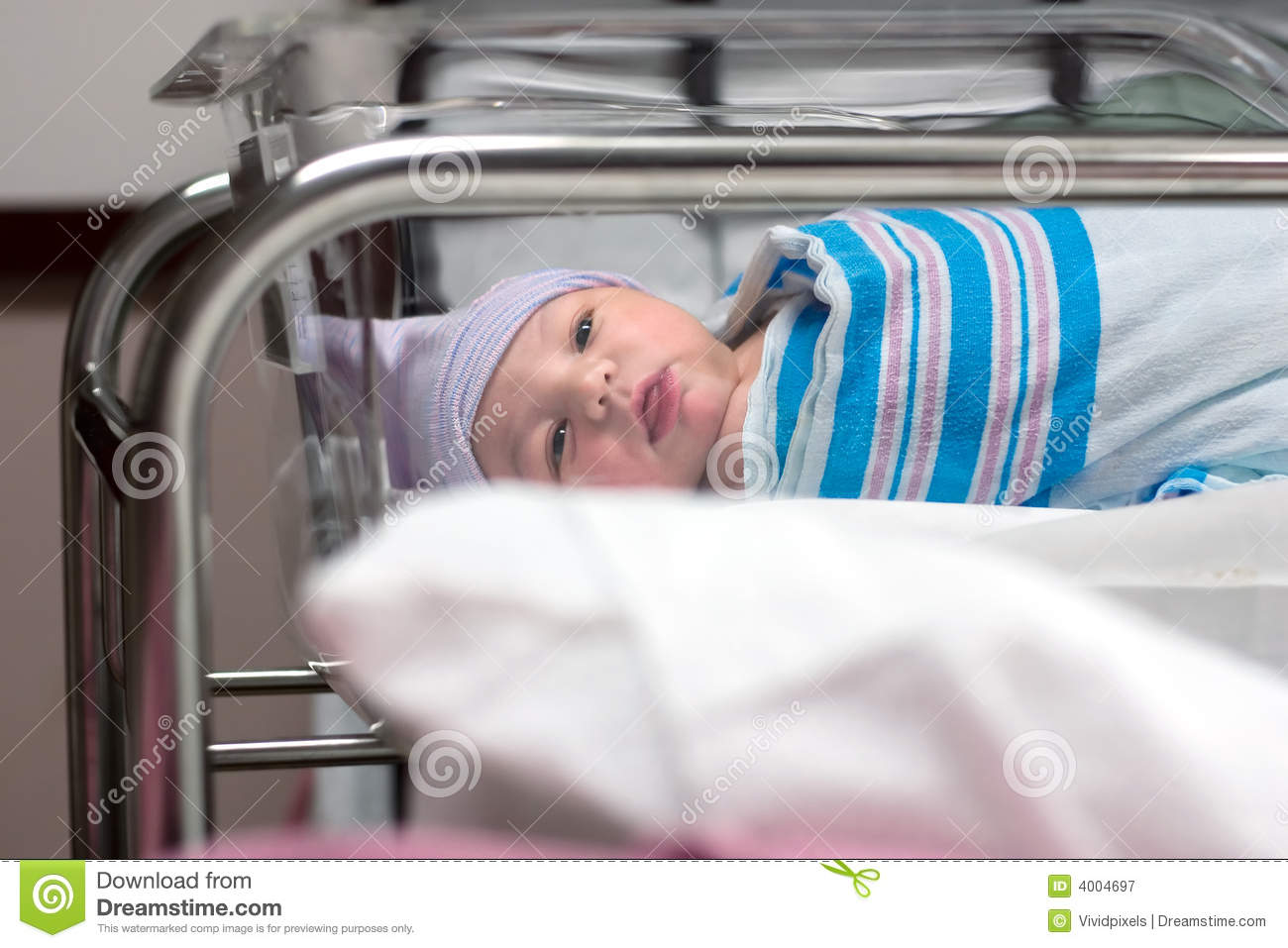 newborn looking around in hospital room royalty free stock photography