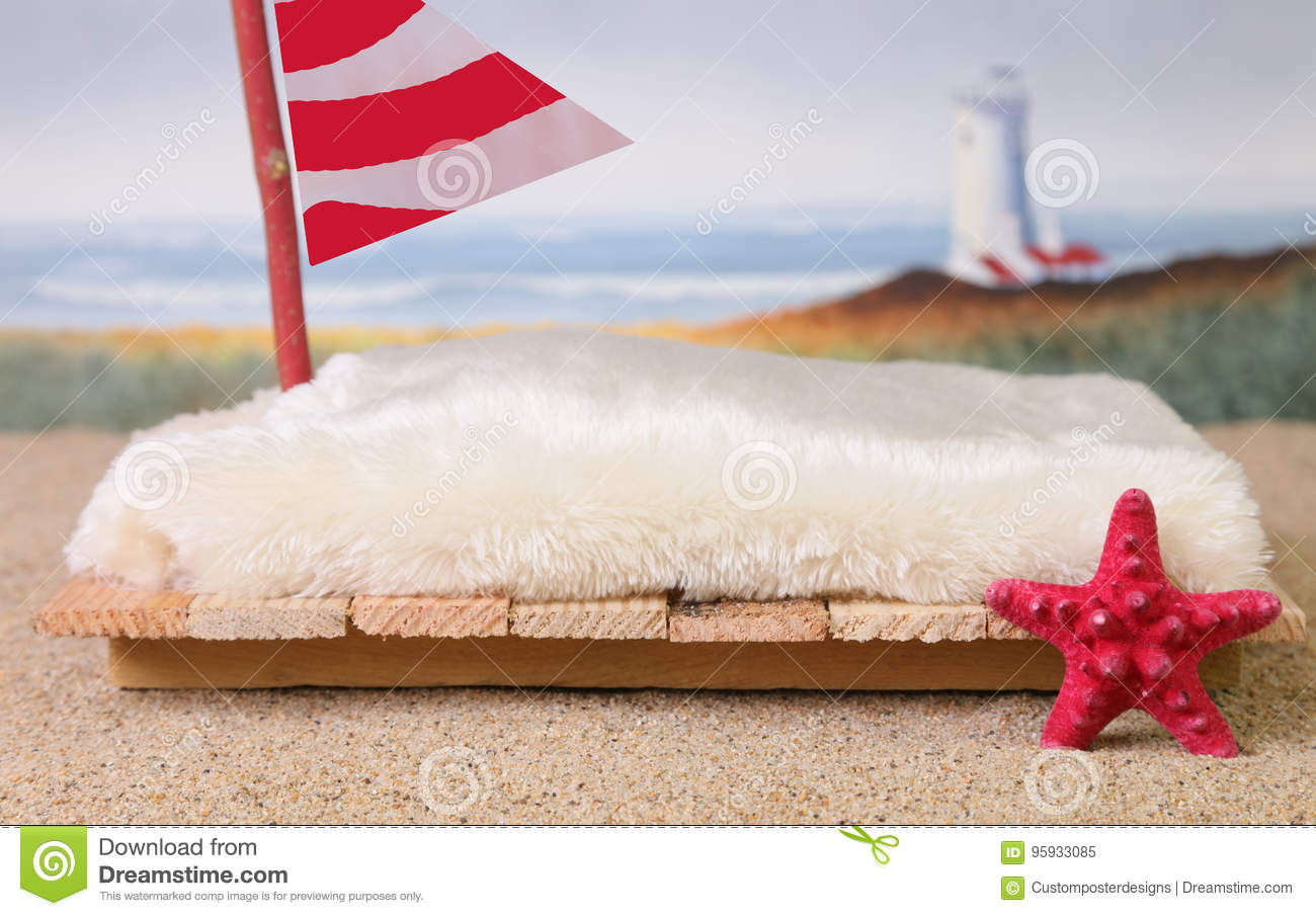 Download A Newborn Photography Prop Of A Raft At The Ocean. Stock Image - Image of blue, starfish: 95933085