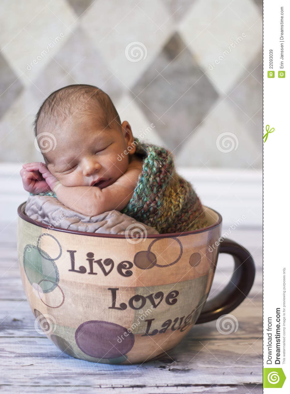 Newborn Sleeping In Giant Coffee Cup Stock Image Image