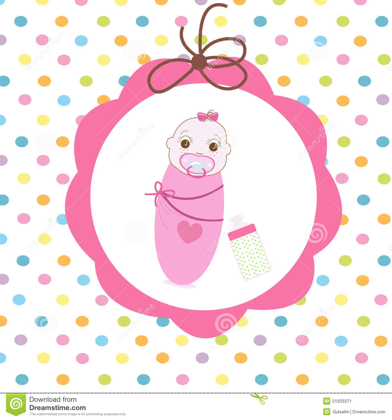 Newborn swaddle baby girl with bottle greeting card illustration newborn swaddle baby girl with bottle greeting card m4hsunfo