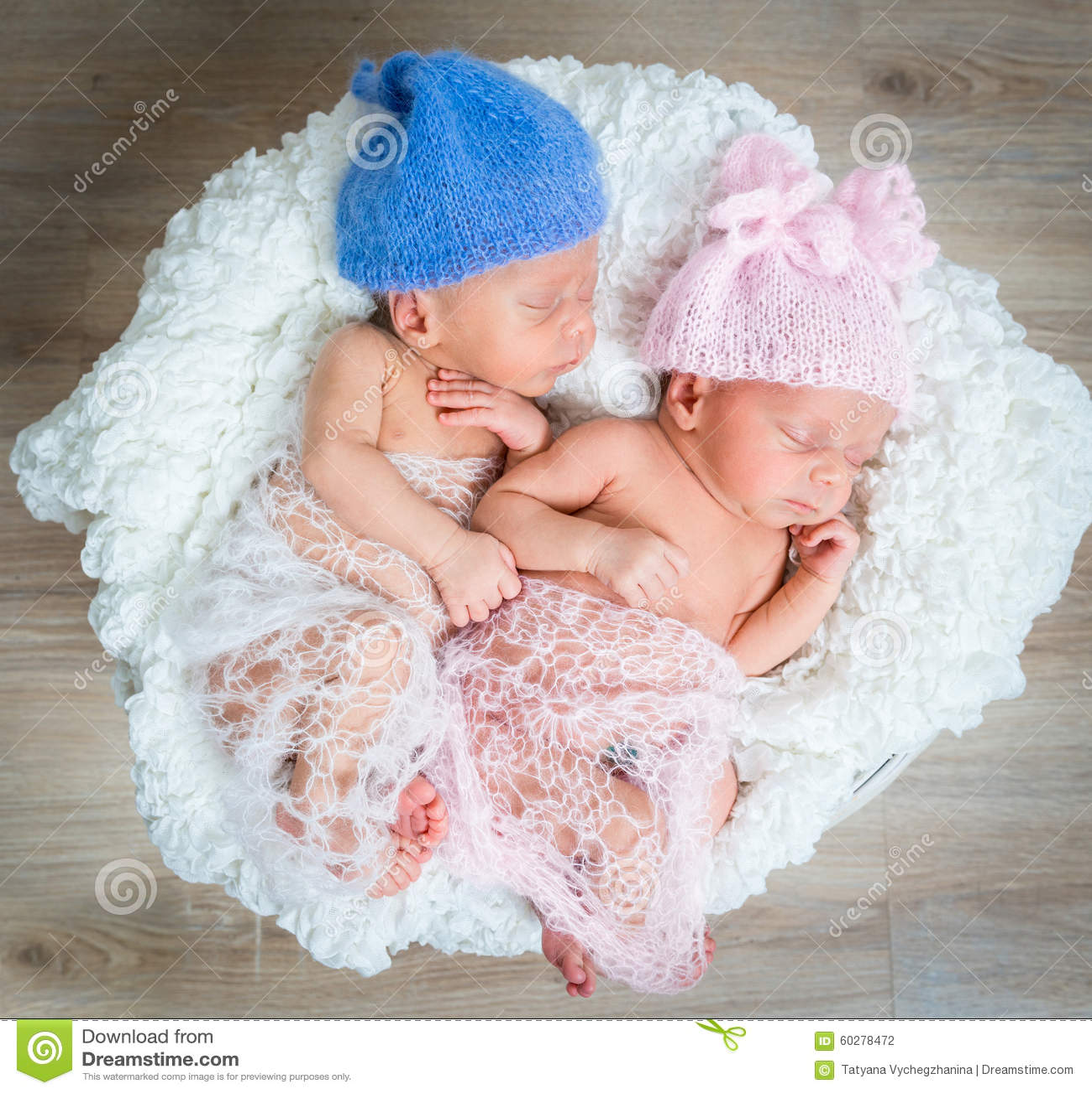 Newborn Twins - Boy And Girl Sleeping Stock Photo - Image ...