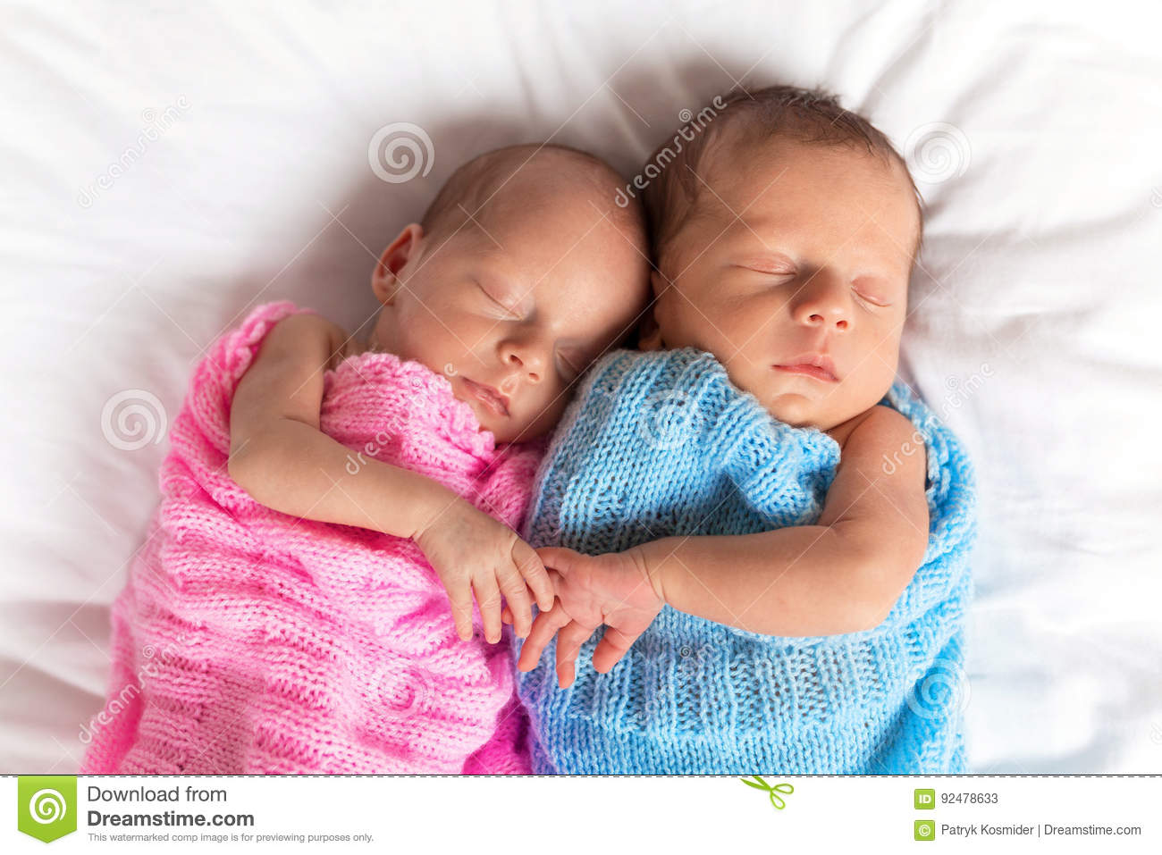 Newborn Twins Sleeping Together Stock Image Image Of Growth