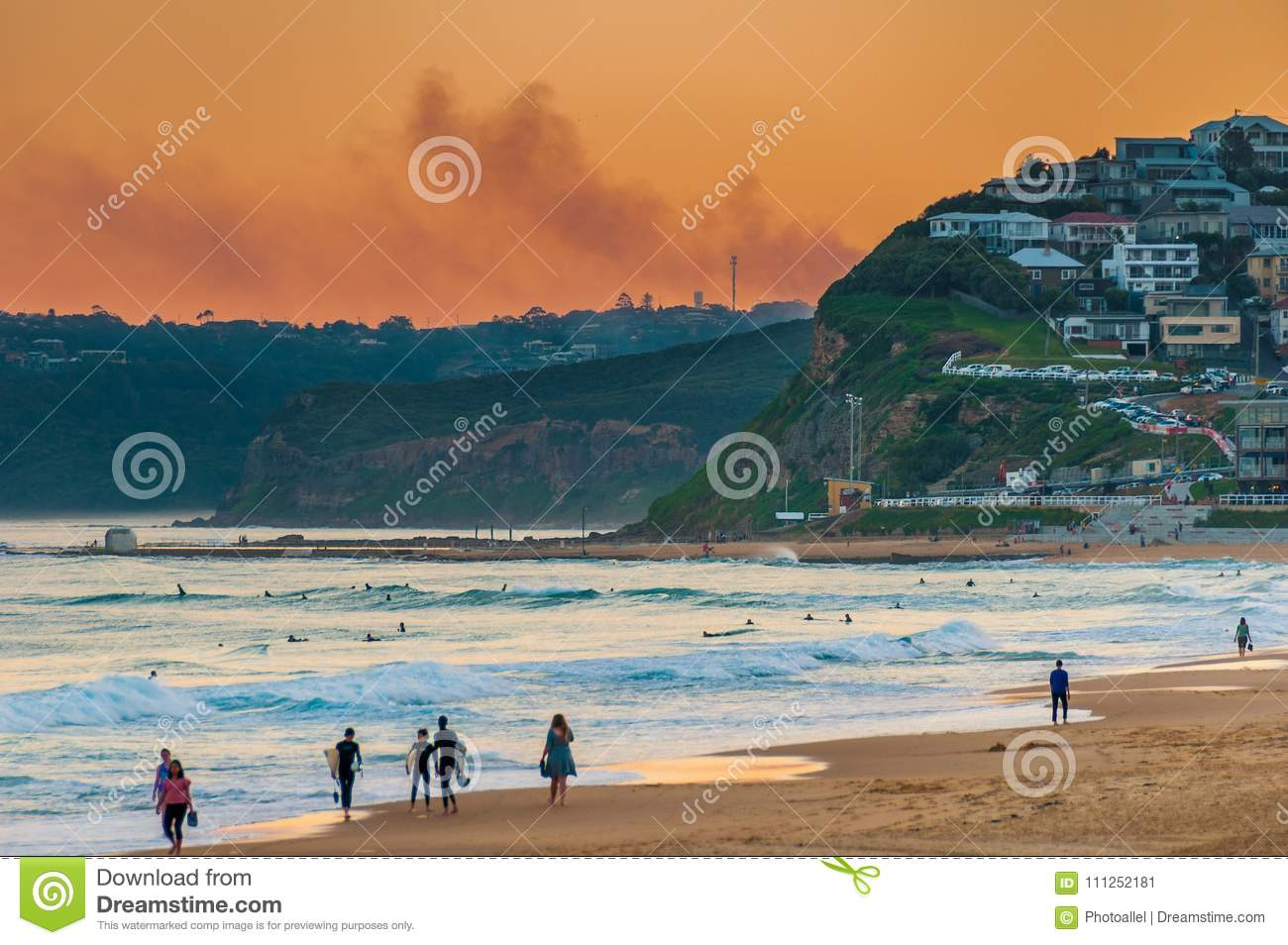 Newcastle Beach Australia at sunset. Newcastle is Australia`s second oldest city.
