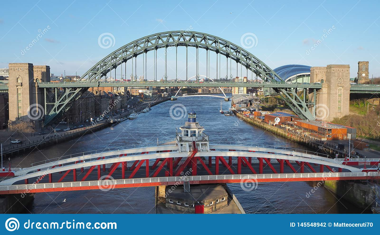 Newcastle Upon Tyne England United Kingdom The Tyne And The Swing Bridges Over The River Tyne Editorial Photography Image Of Icon Kingdom 145548942