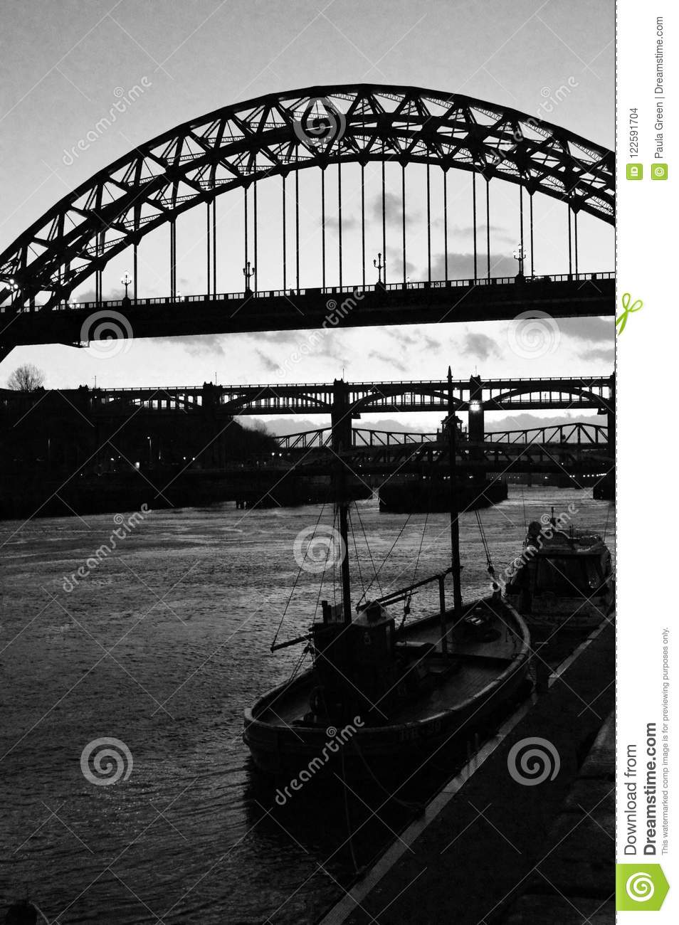 Newcastle upon tyne north east england famous bridges over the river tyne in silhouette and black and white portrait orientation