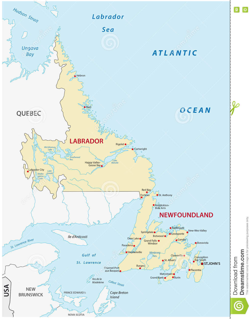 Newfoundland And Labrador Map Stock Vector Illustration Of Johns