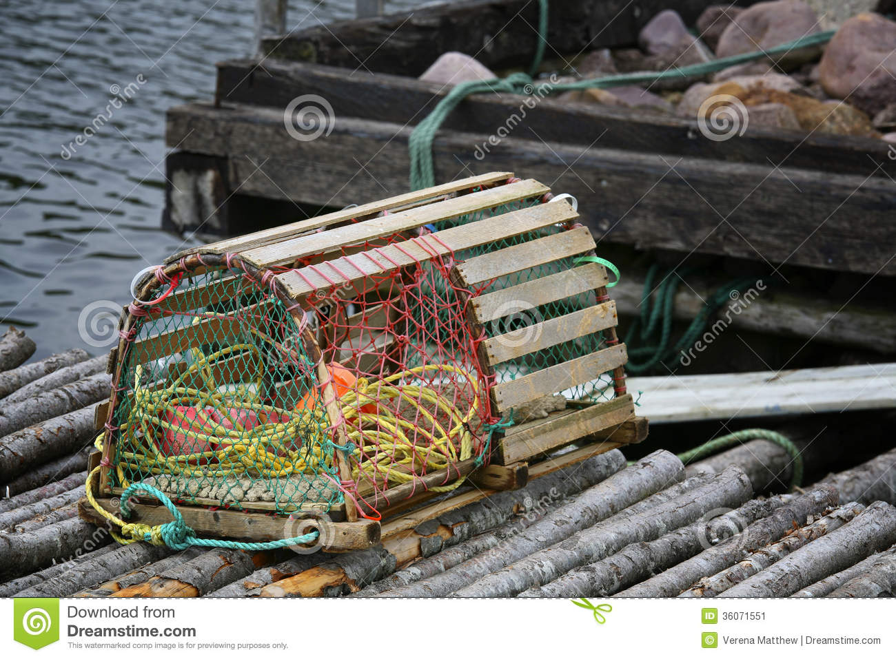Newfoundland Lobster Trap stock image. Image of buoys - 36071551