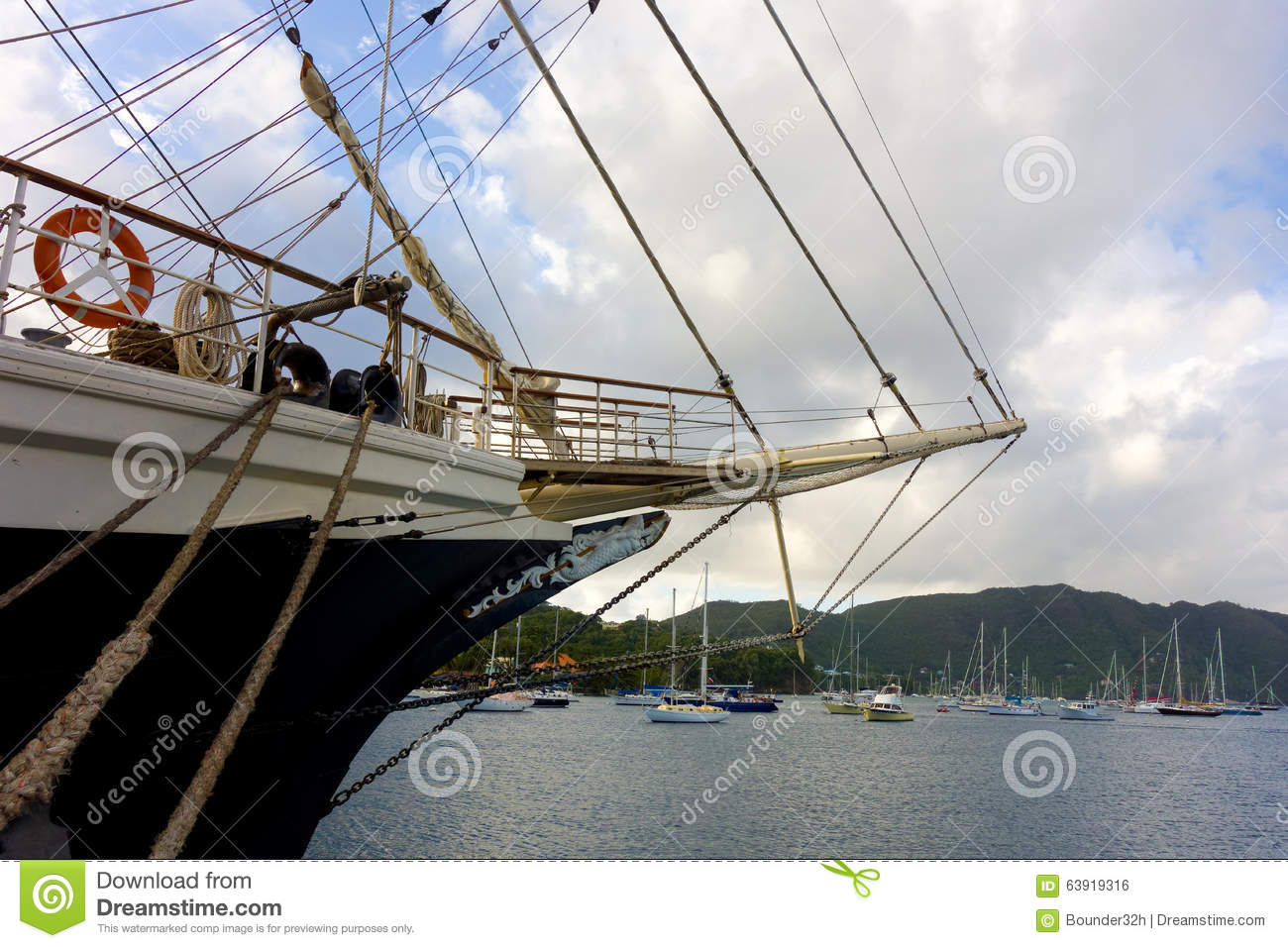 The newly arrived sailing ship tenacious in the windward islands