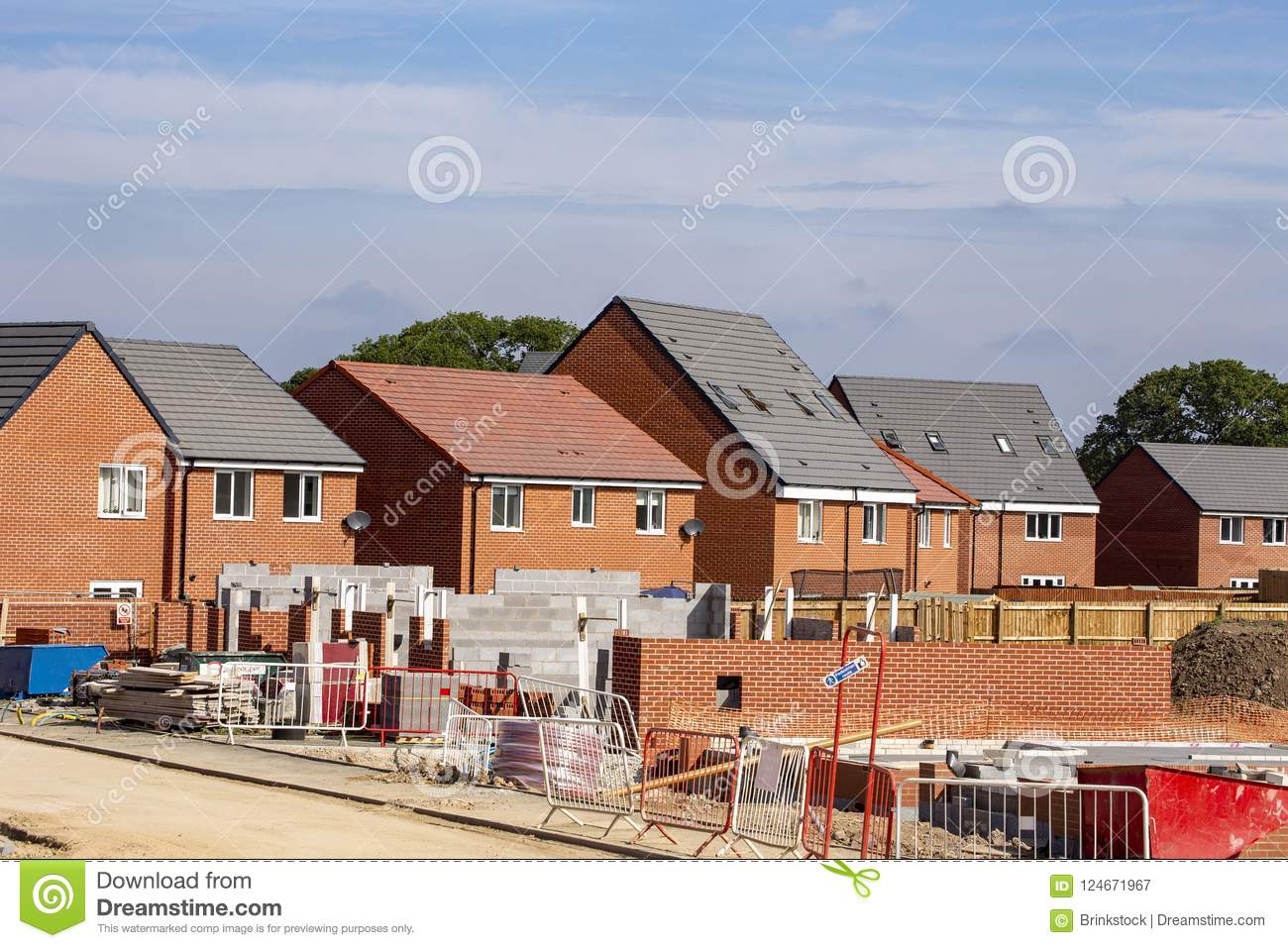 Newly build homes, construction site UK