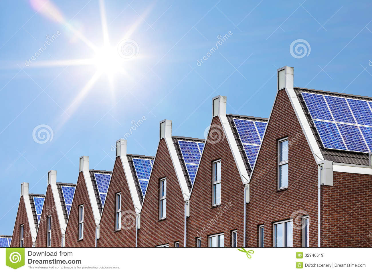 Newly Build Houses Solar Panels Attached Roof Against Sunny Sky