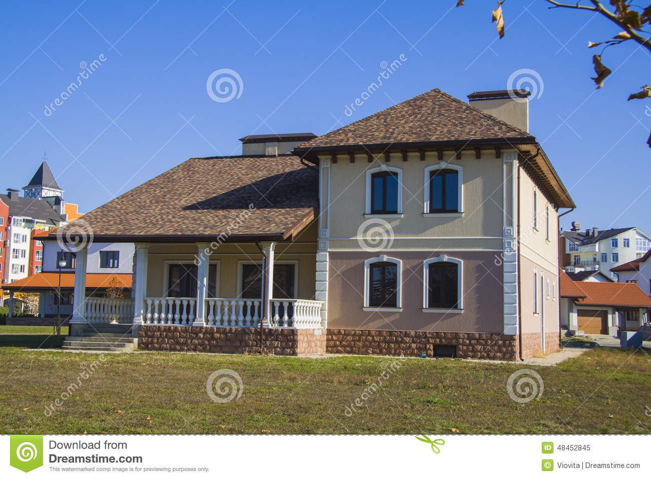 Newly built alpine house in german village stock image for German house builders