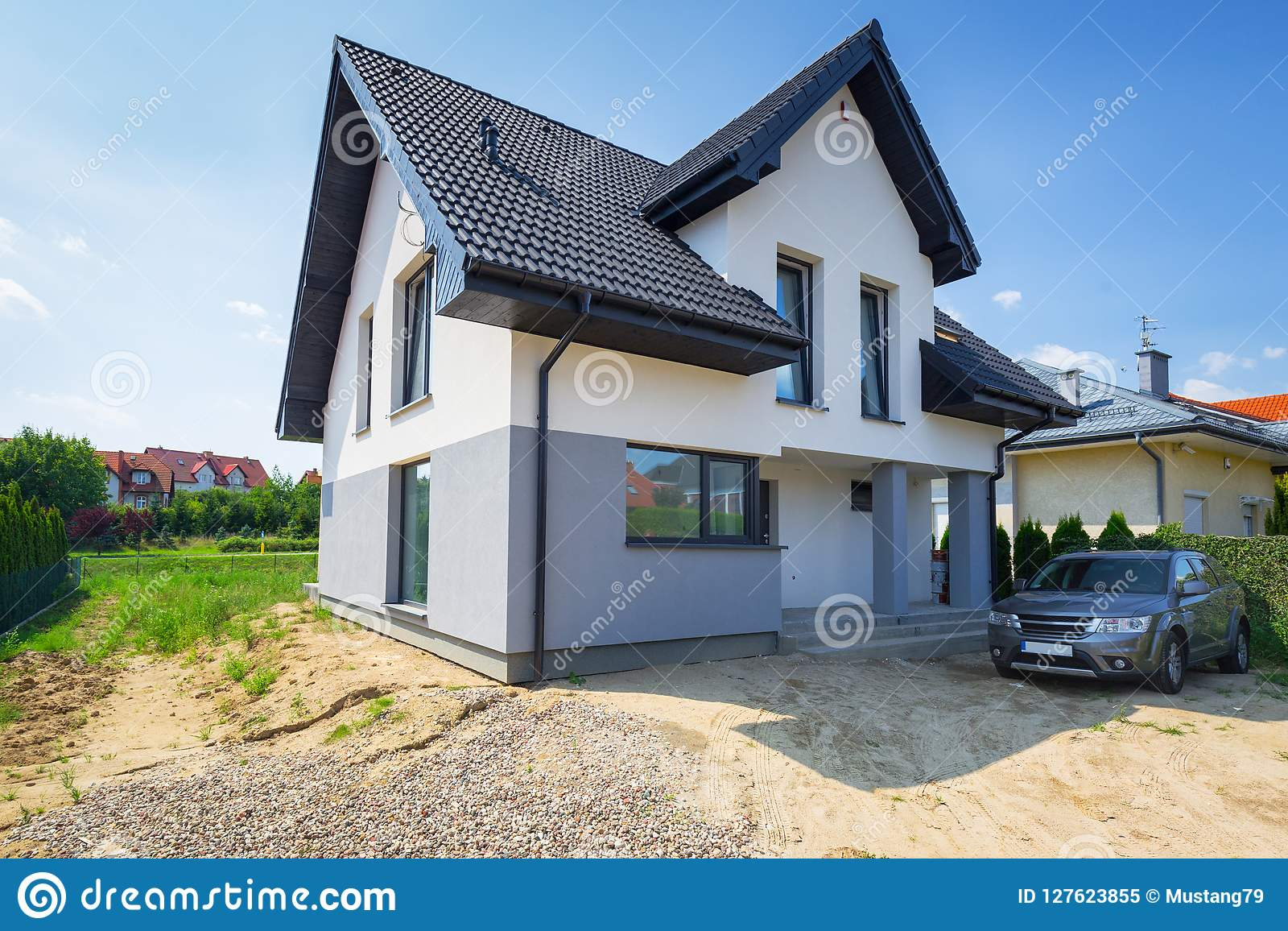 Newly Built White And Gray House Stock Image Image Of