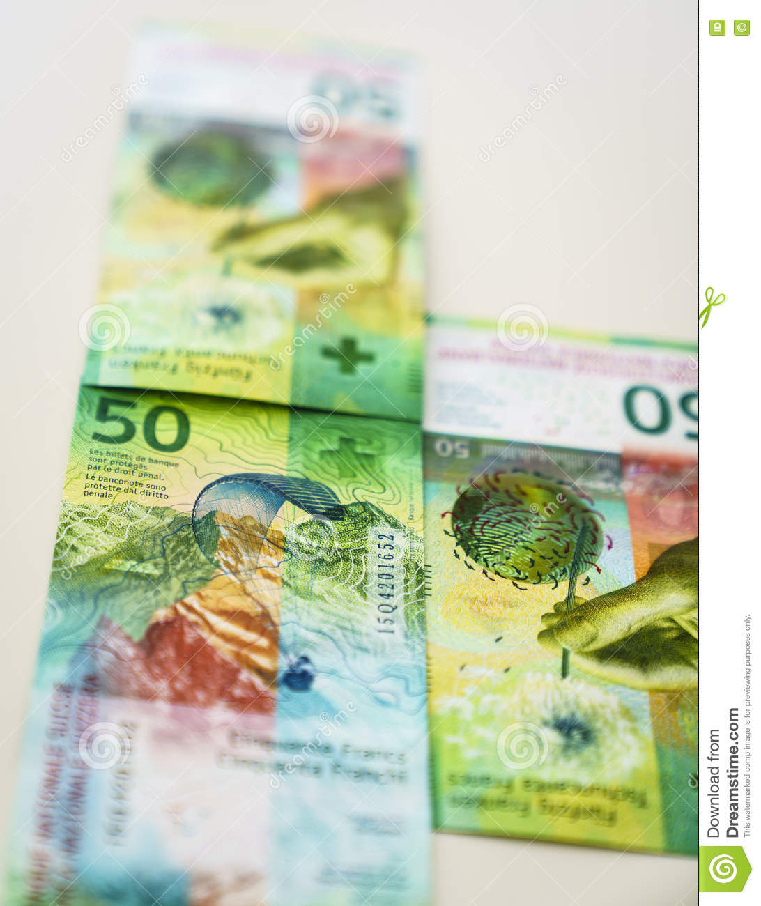 Newly Fifty Swiss Franc bills