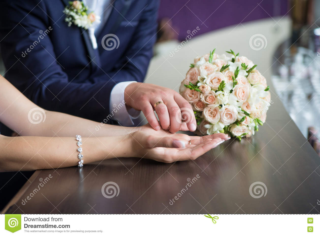 Newly Married Holding Hands Stock Image Image Of Greeting Floral