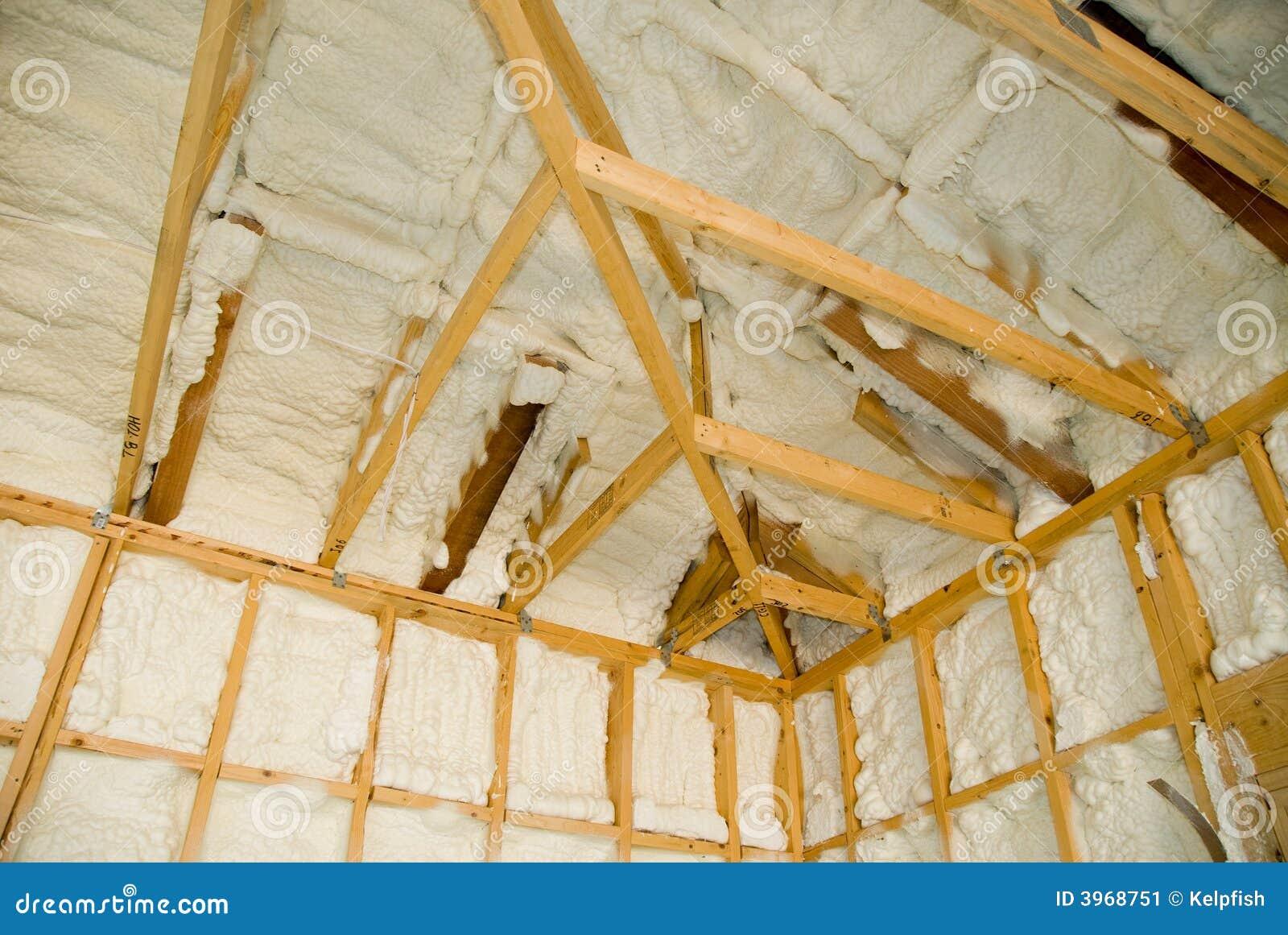 Newly sprayed insulation