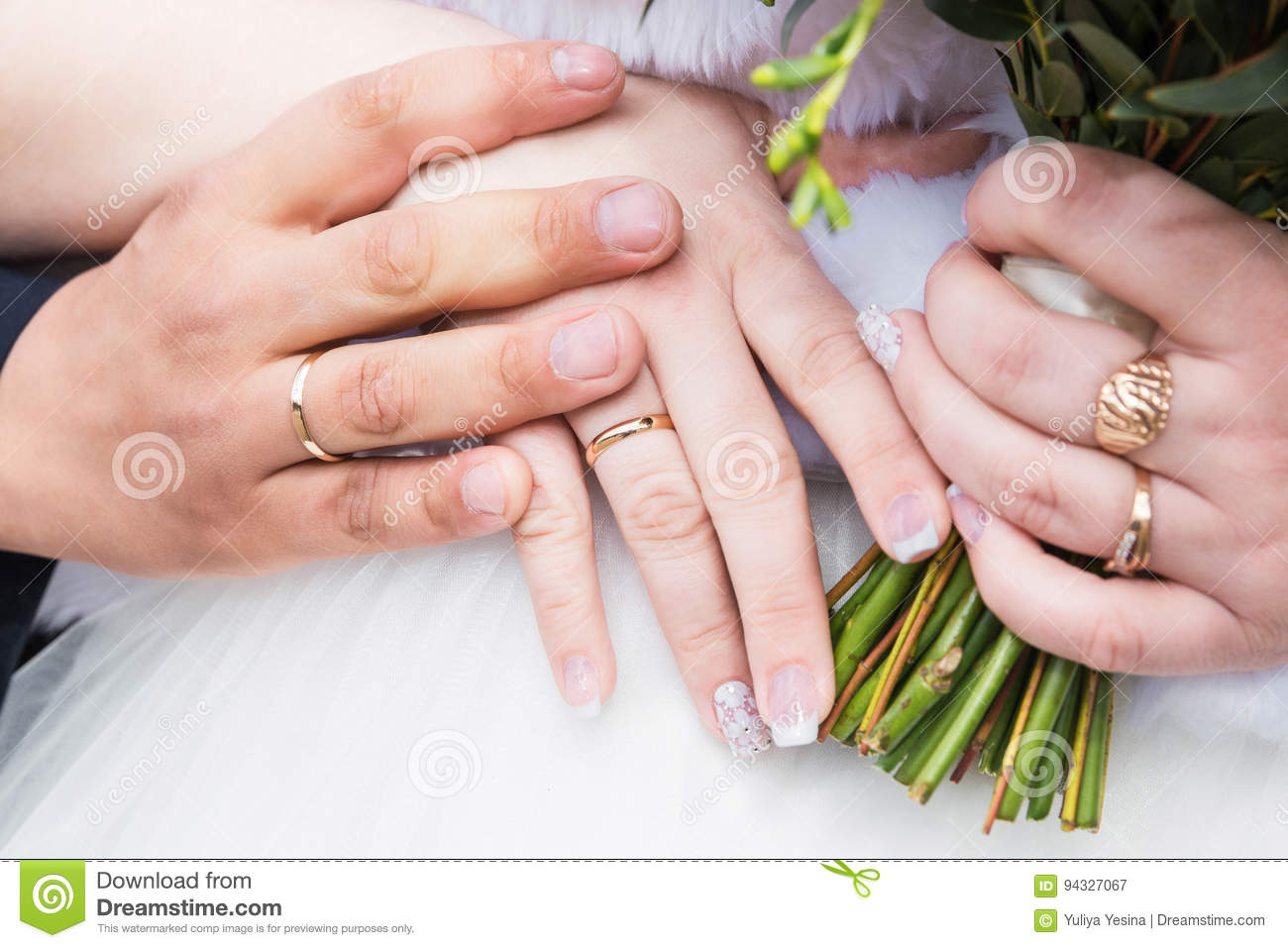 Newly Wed Couple`s Hands With Wedding Rings Stock Image - Image of ...