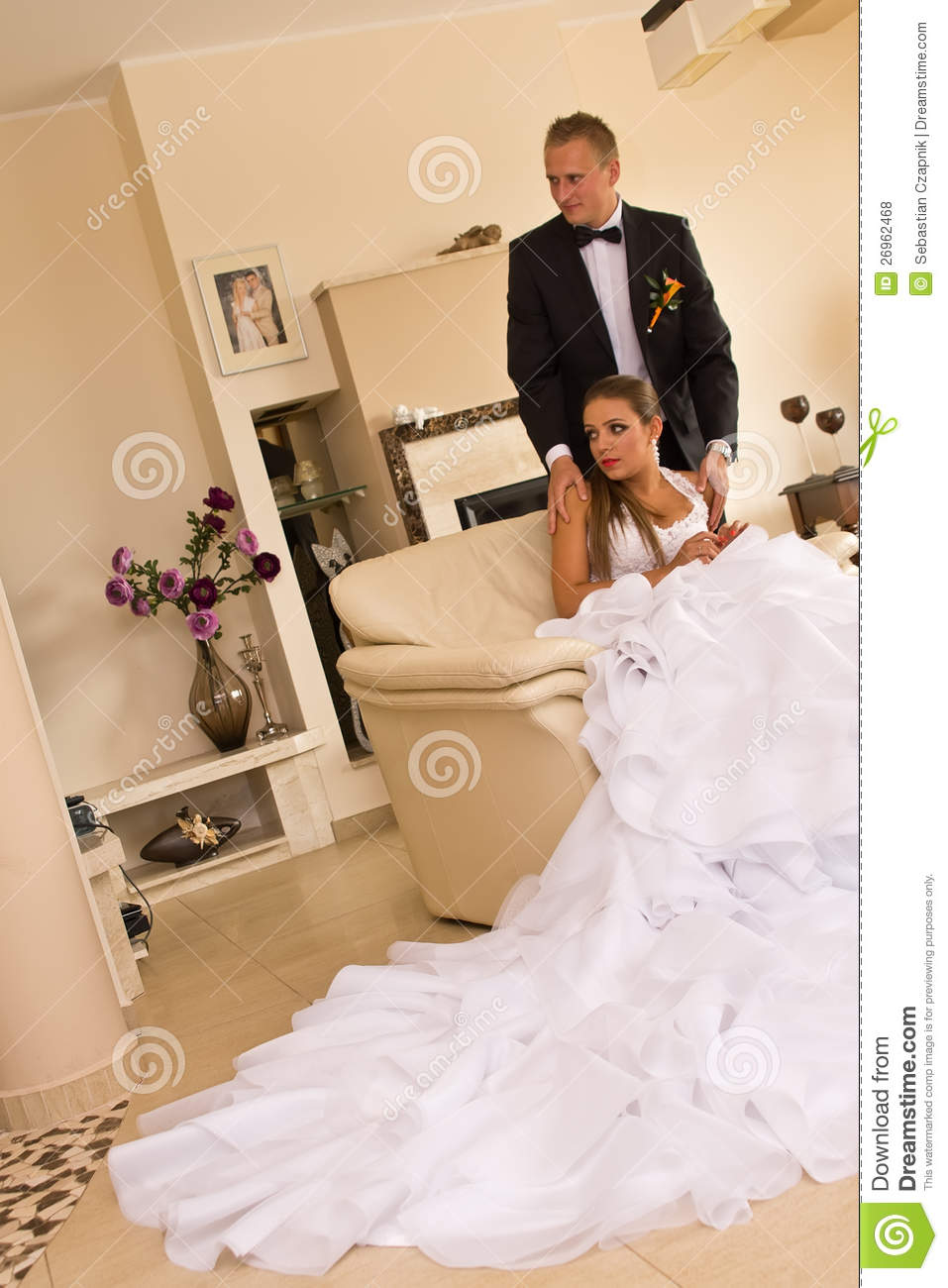 Newlywed Couple In Bedroom Royalty Free Stock Photos