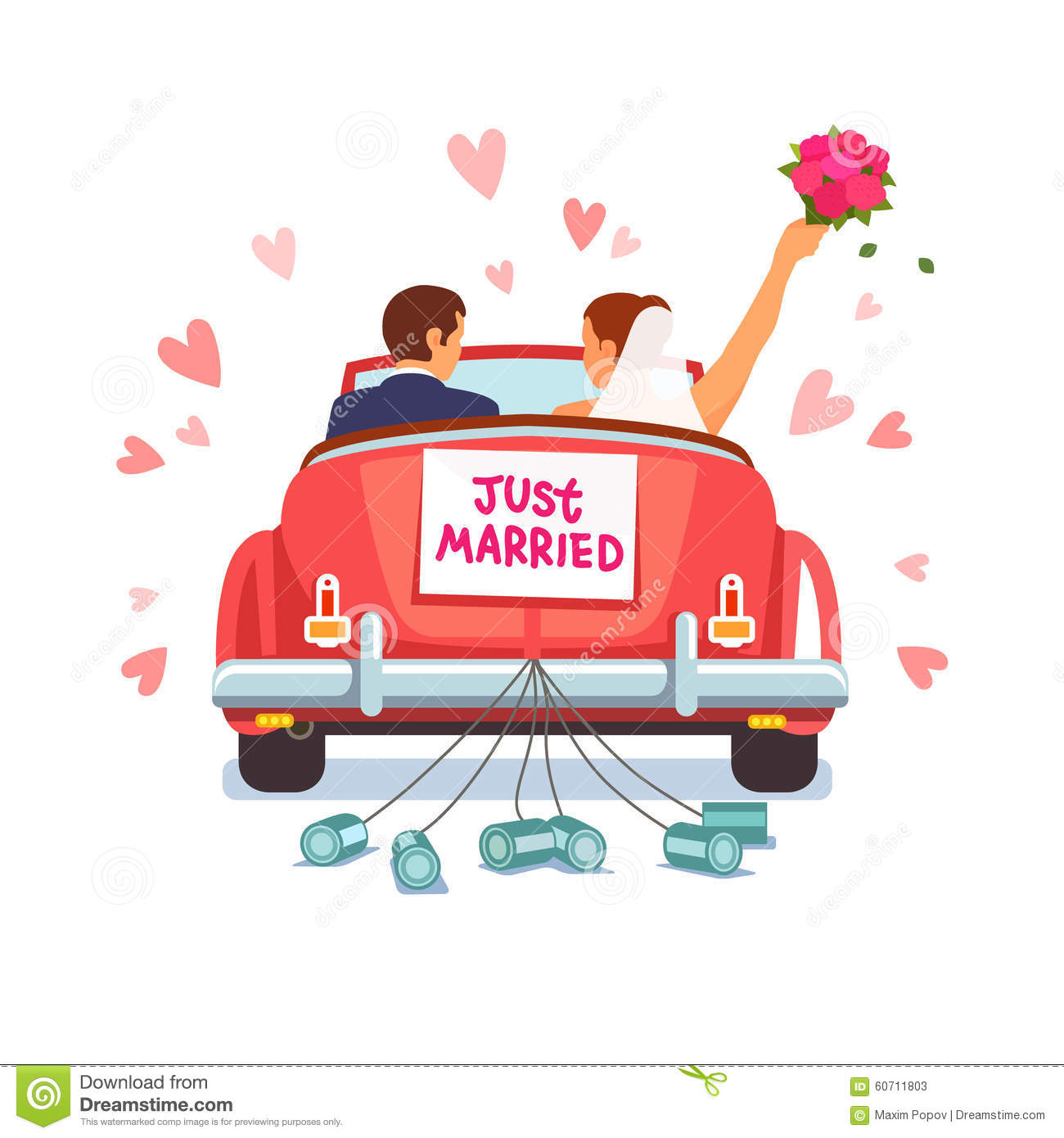 Newlywed Couple Is Driving Car For Their Honeymoon Stock