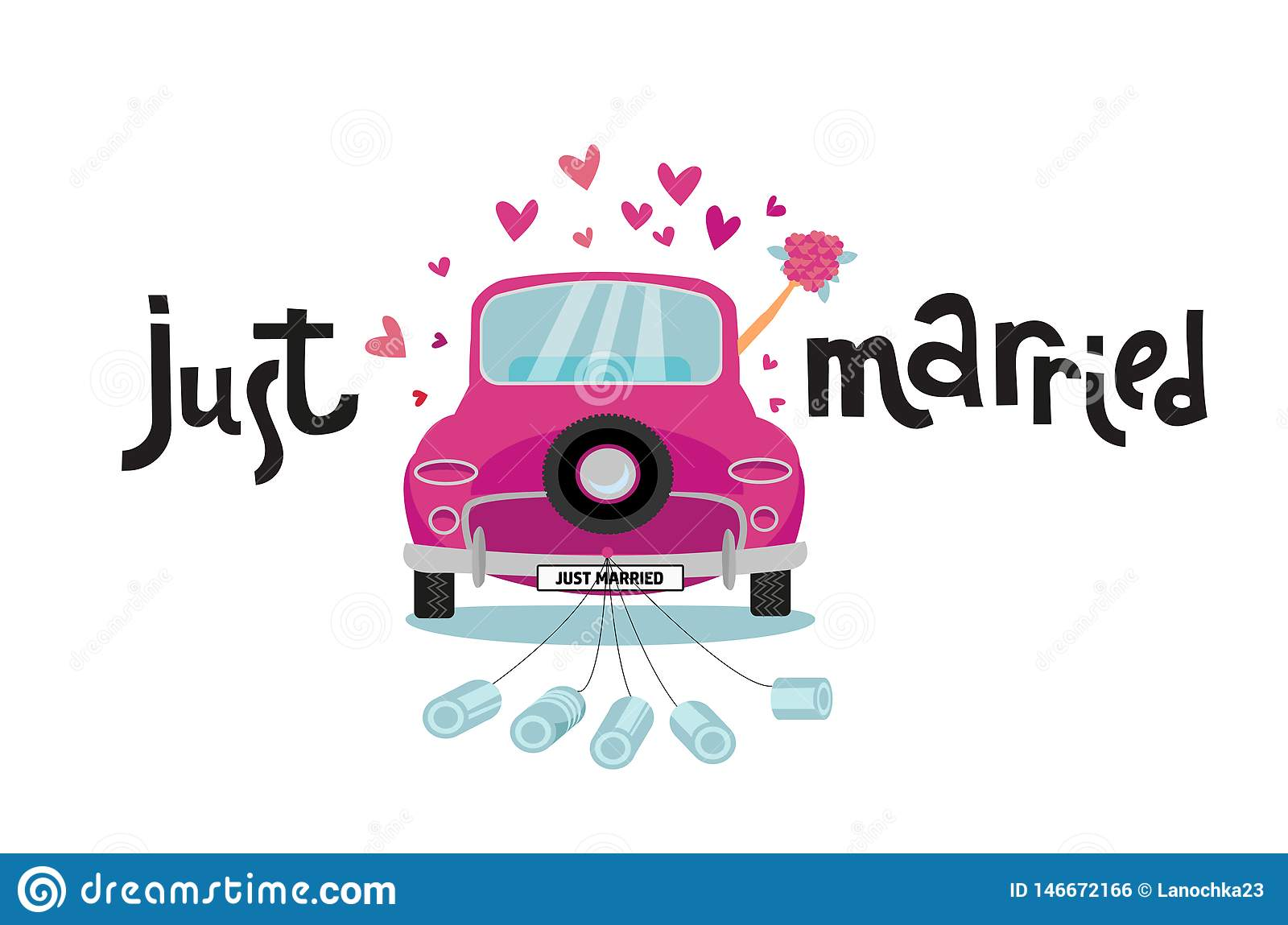 Newlywed couple is driving vintage pink car for their honeymoon with just married lettering sign and cans attached. Bride groom