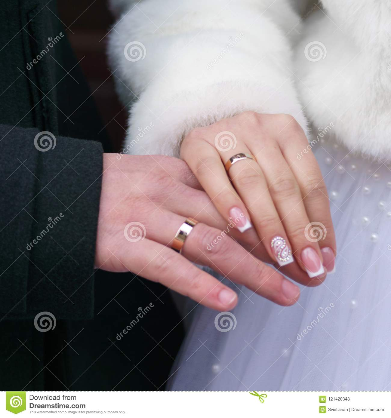 Newlywed Couples Hands With Wedding Rings. Stock Photo - Image of ...
