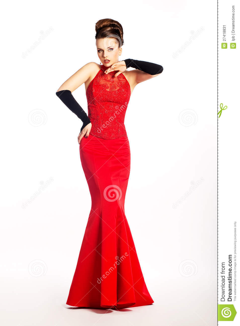 Newlywed In Long Wedding Red Dress Fashion Gloves Stock Image ...
