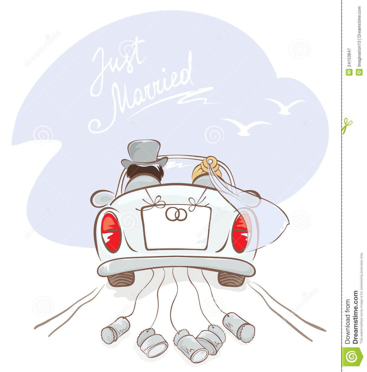 Newlyweds In A Car Royalty Free Stock Photography - Image: 24153847