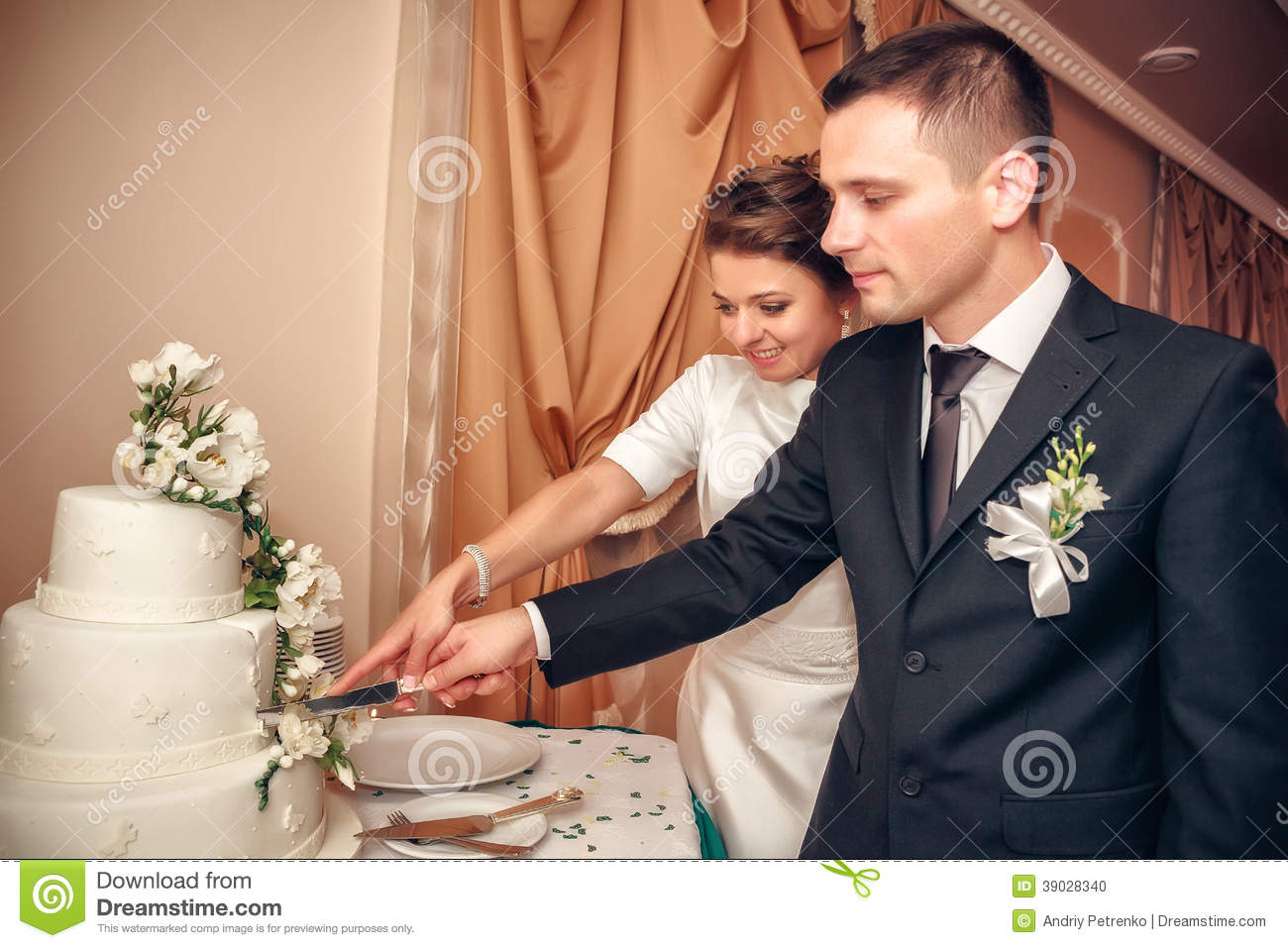 cutting a wedding cake newlyweds cut wedding cake stock photo image of food 13284