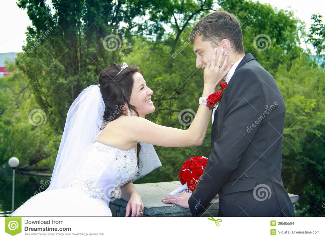 Newlyweds looking to each other with love