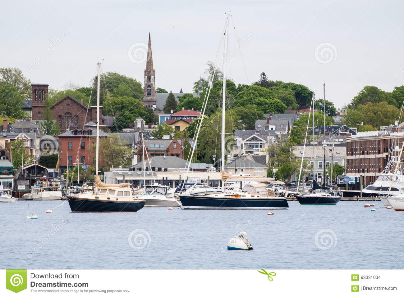 Newport Harbor and View of St. Mary`s Church
