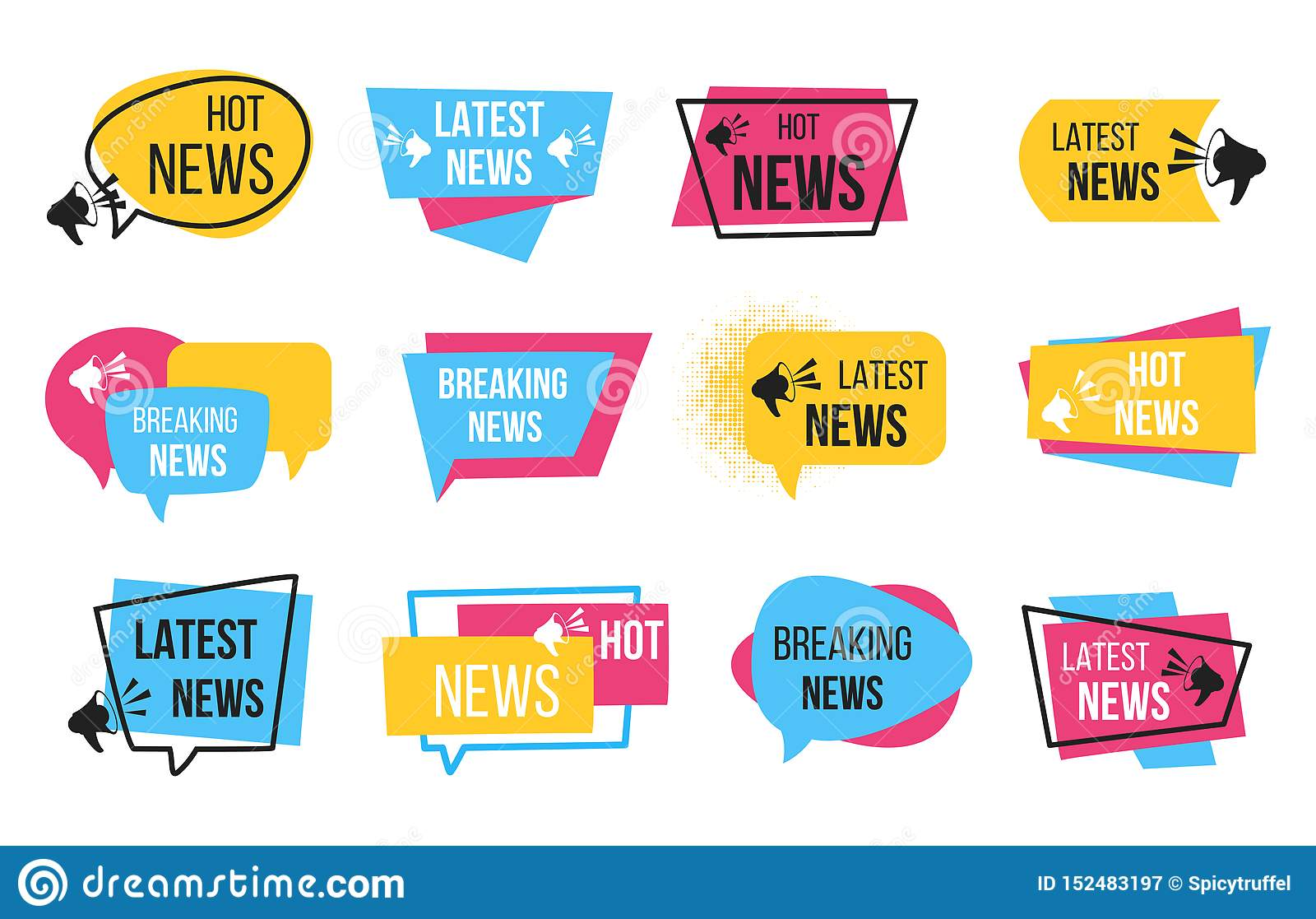 News Badge  Promotion Stickers With Megaphone And Text Bulb