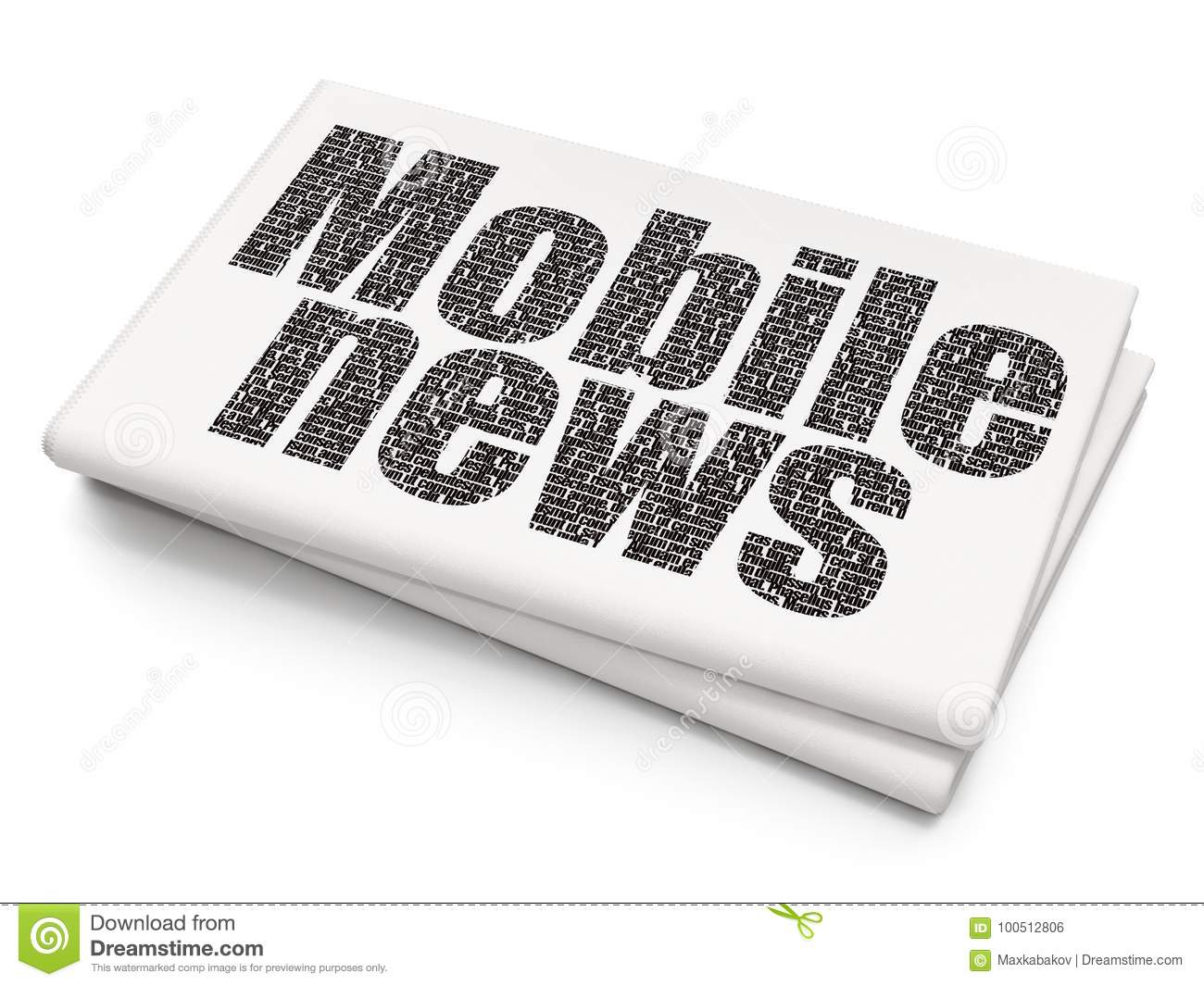 News Concept Mobile News On Blank Newspaper Background Stock