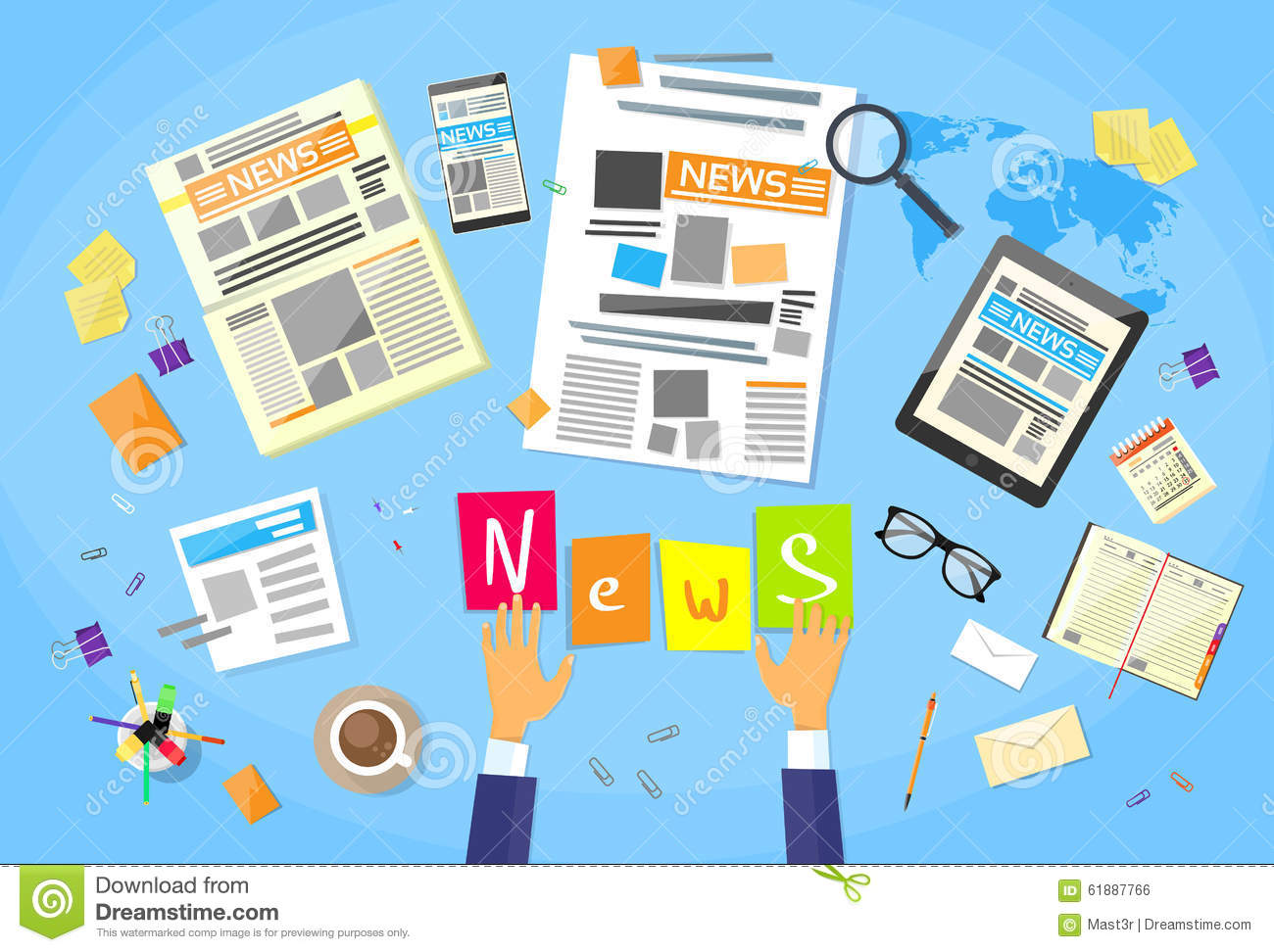 News Editor Desk Workspace Concept Making Stock Vector